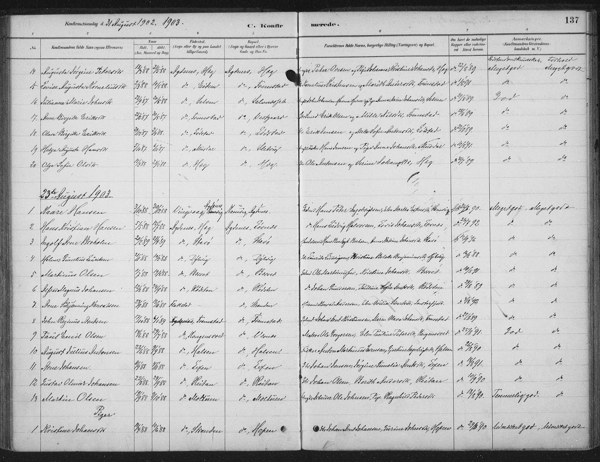 SAT, Ministerialprotokoller, klokkerbøker og fødselsregistre - Sør-Trøndelag, 662/L0755: Ministerialbok nr. 662A01, 1879-1905, s. 137