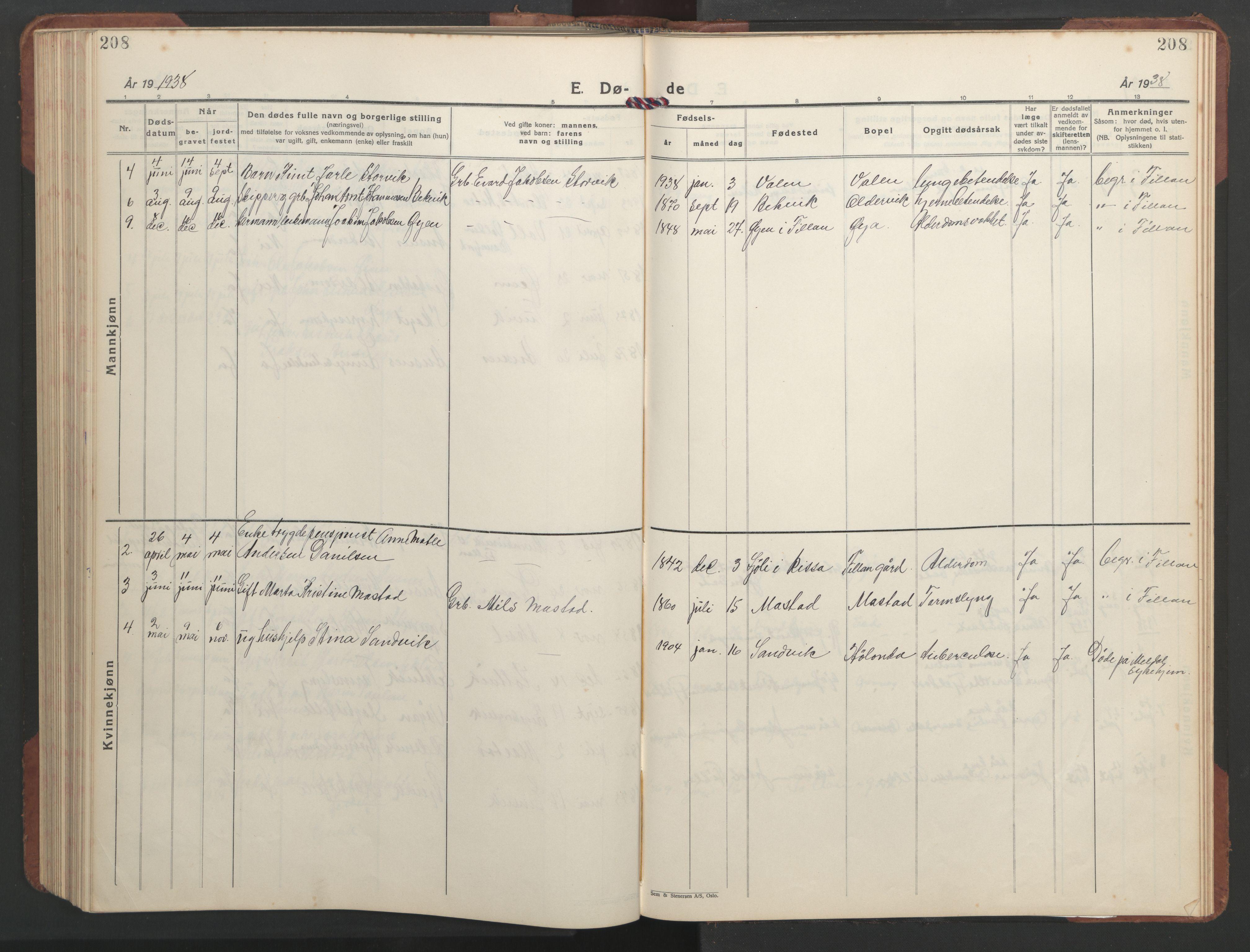 SAT, Ministerialprotokoller, klokkerbøker og fødselsregistre - Sør-Trøndelag, 637/L0564: Klokkerbok nr. 637C05, 1928-1968, s. 208