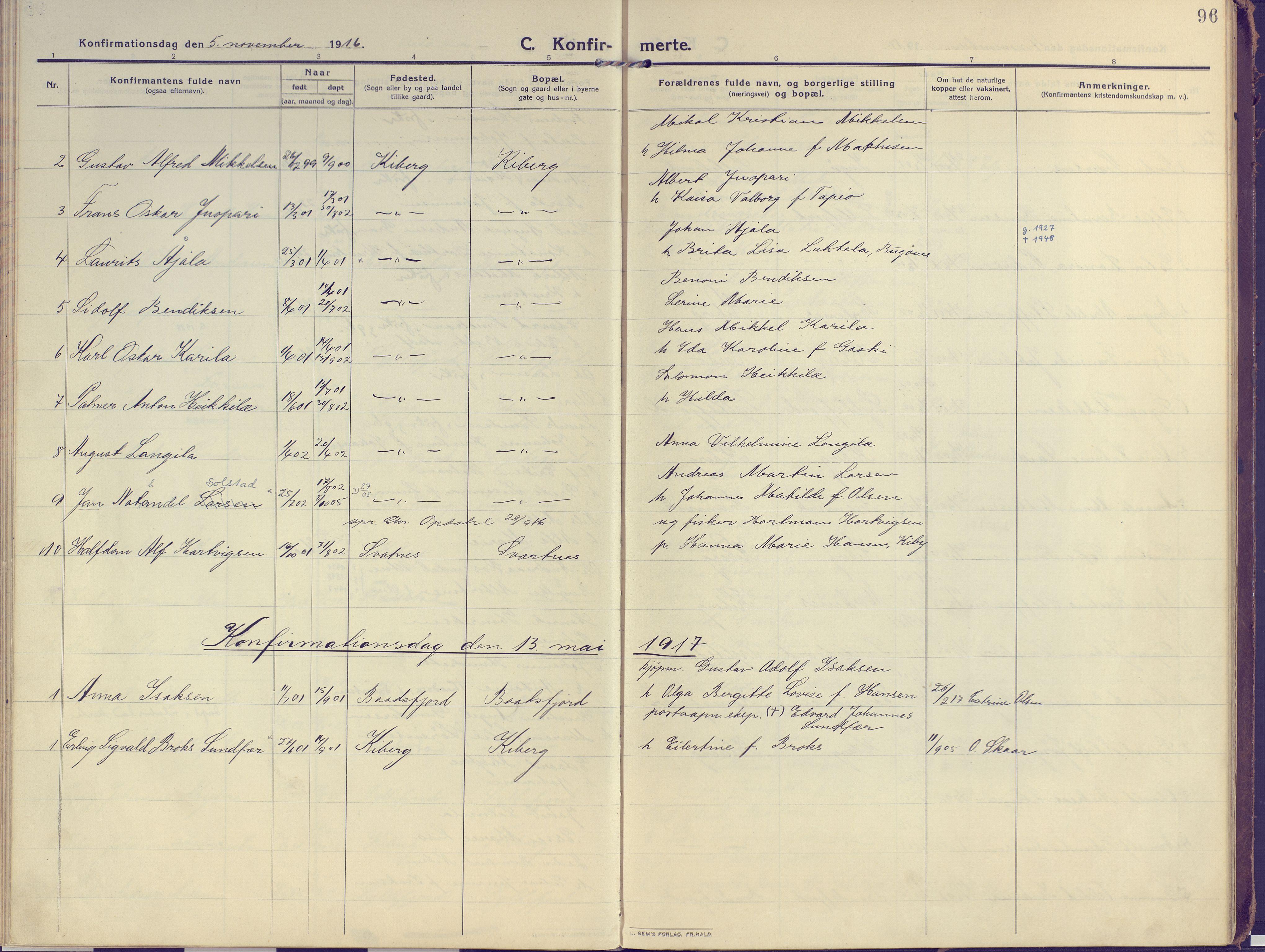 SATØ, Vardø sokneprestkontor, H/Ha/L0013kirke: Ministerialbok nr. 13, 1912-1928, s. 96