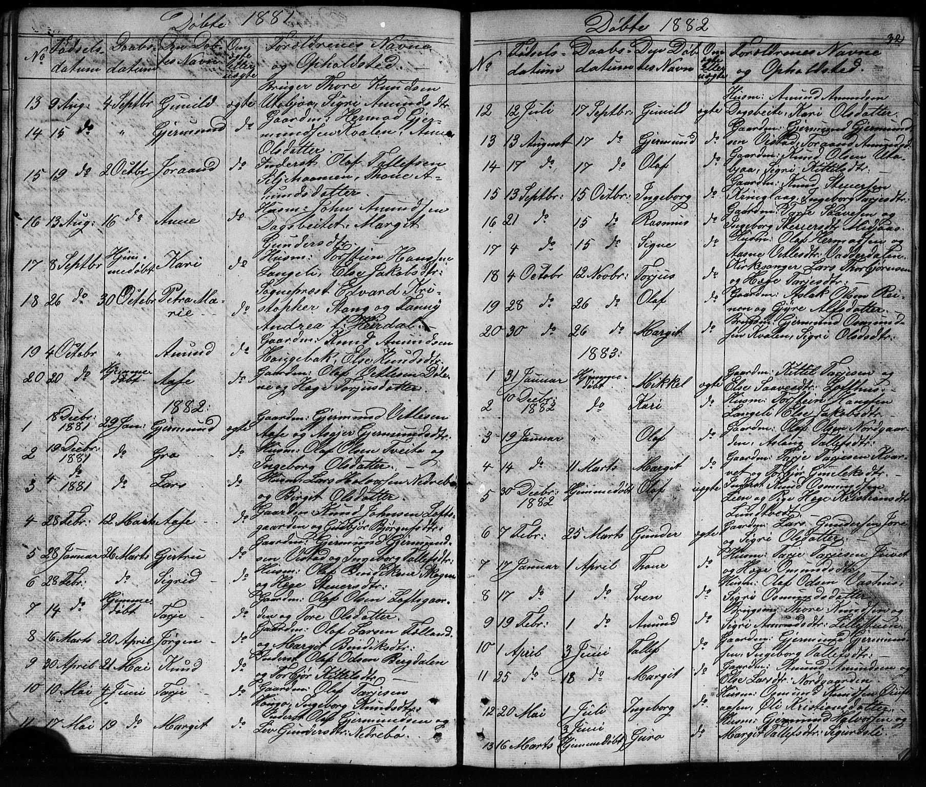 SAKO, Mo kirkebøker, G/Ga/L0001: Klokkerbok nr. I 1, 1851-1891, s. 32