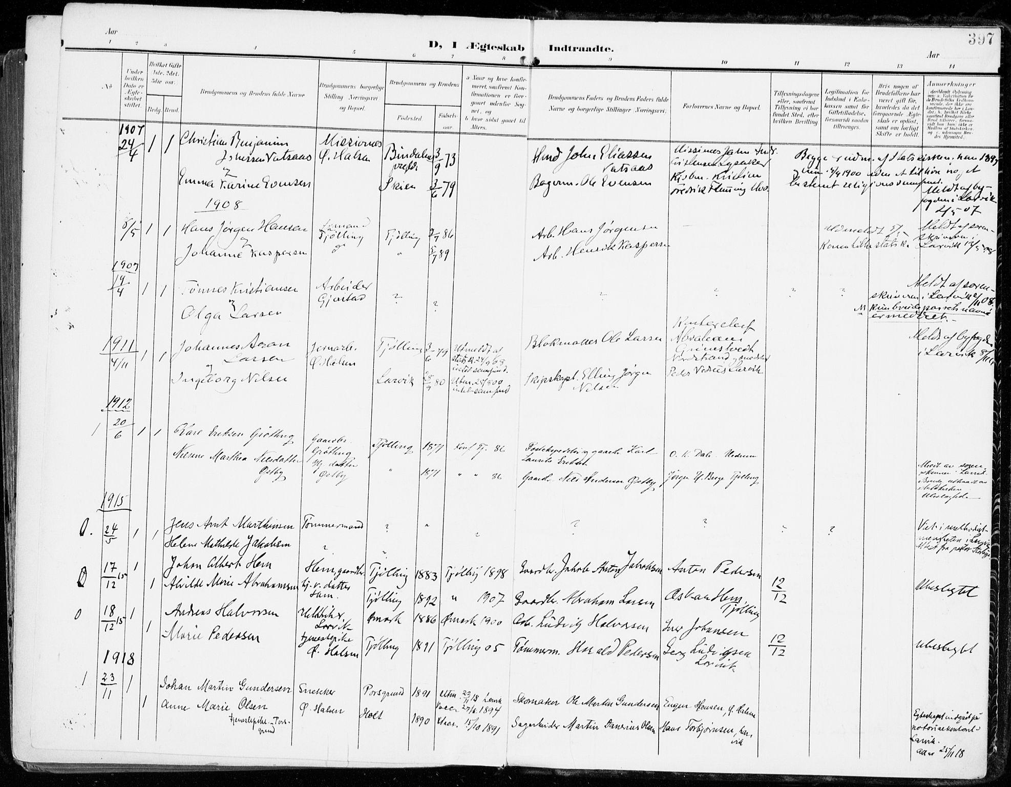 SAKO, Tjølling kirkebøker, F/Fa/L0010: Ministerialbok nr. 10, 1906-1923, s. 397