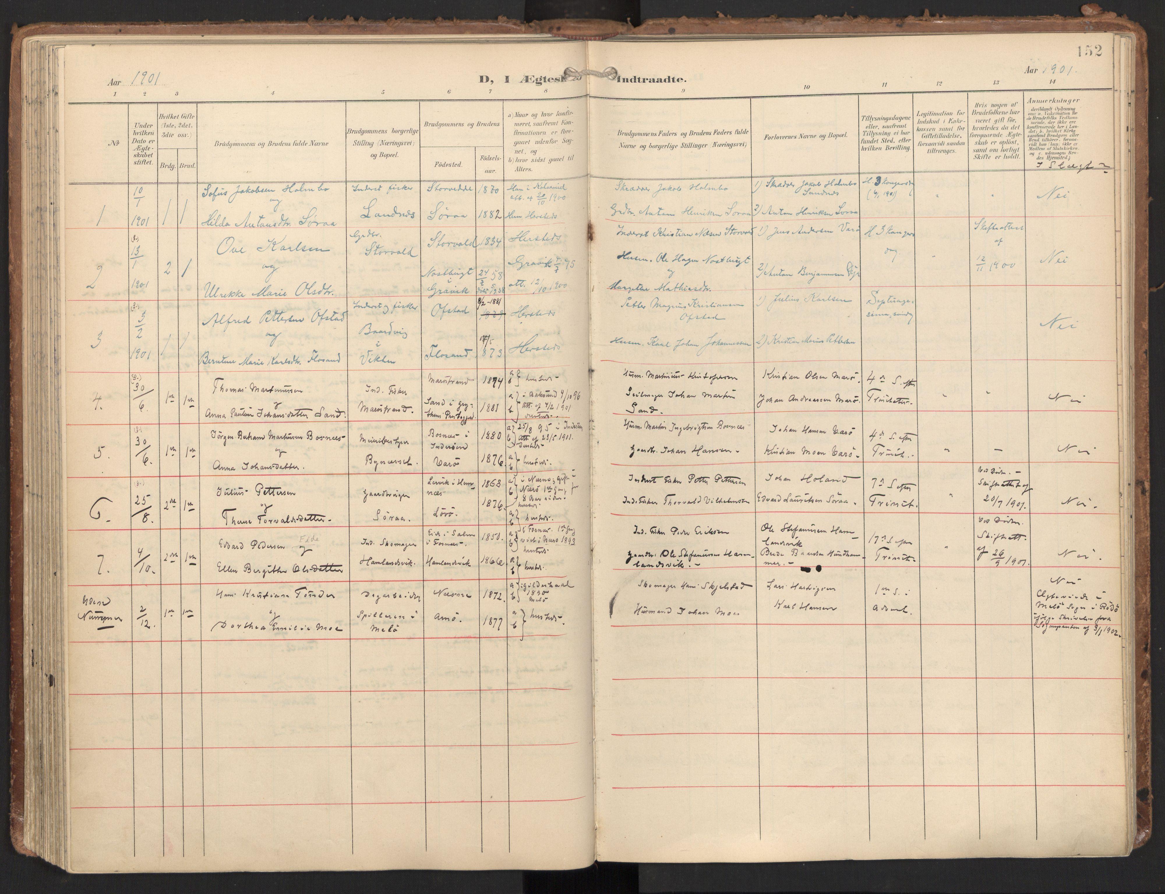 SAT, Ministerialprotokoller, klokkerbøker og fødselsregistre - Nord-Trøndelag, 784/L0677: Ministerialbok nr. 784A12, 1900-1920, s. 152