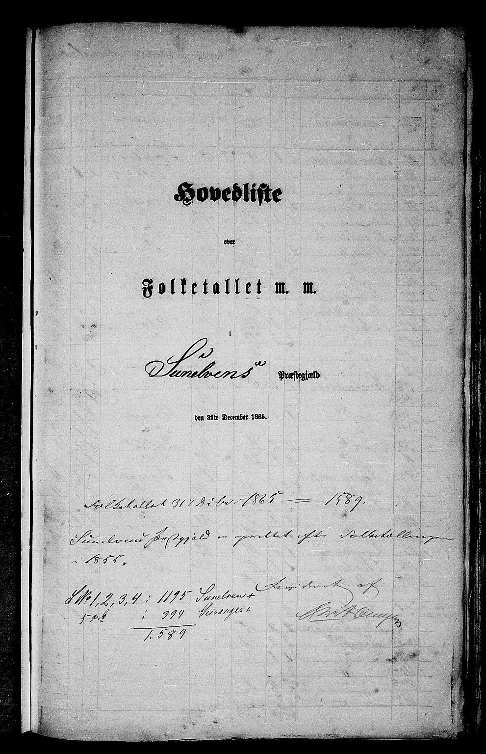 RA, Folketelling 1865 for 1523P Sunnylven prestegjeld, 1865, s. 1