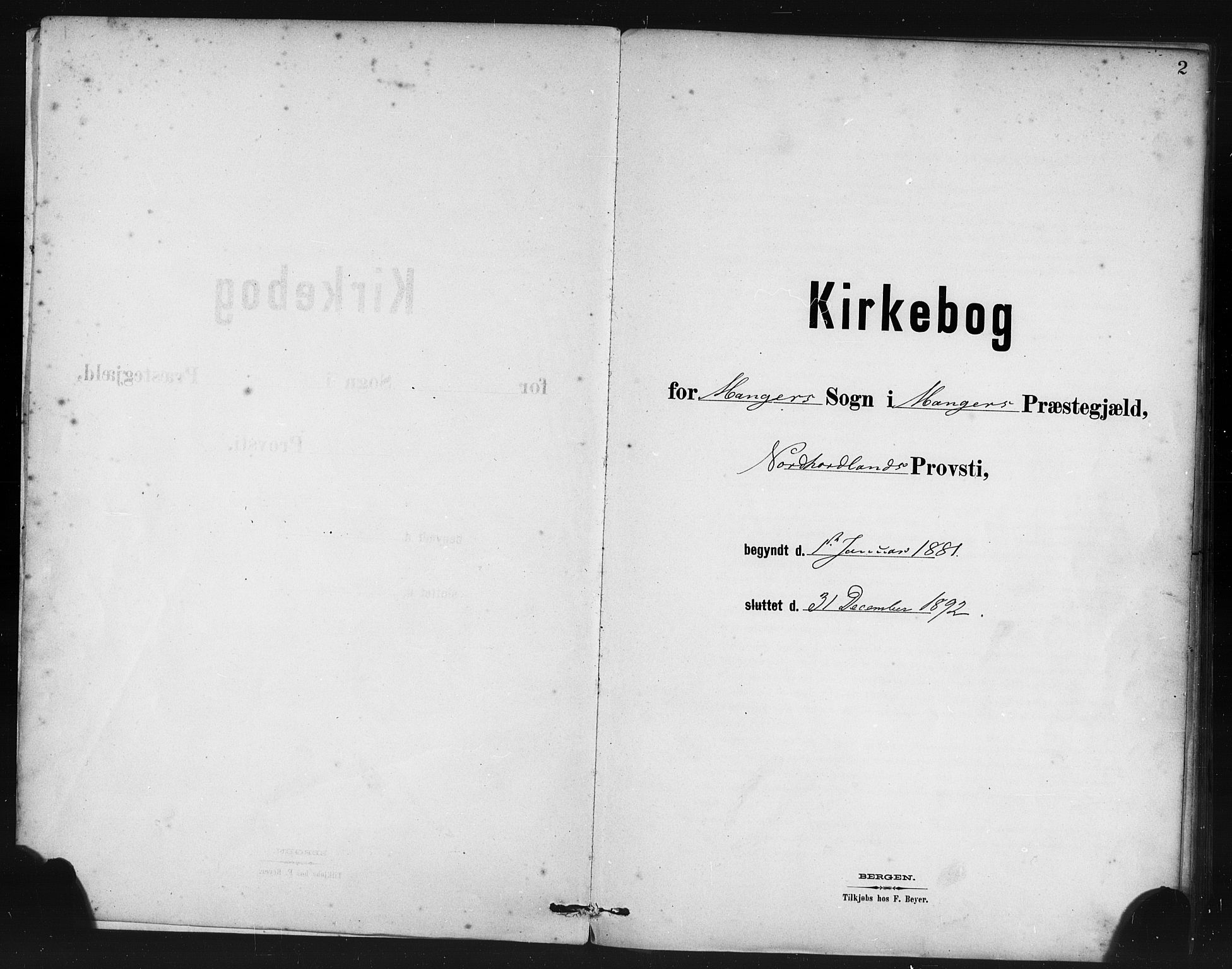 SAB, Manger sokneprestembete, H/Haa: Ministerialbok nr. B 1, 1881-1892, s. 2