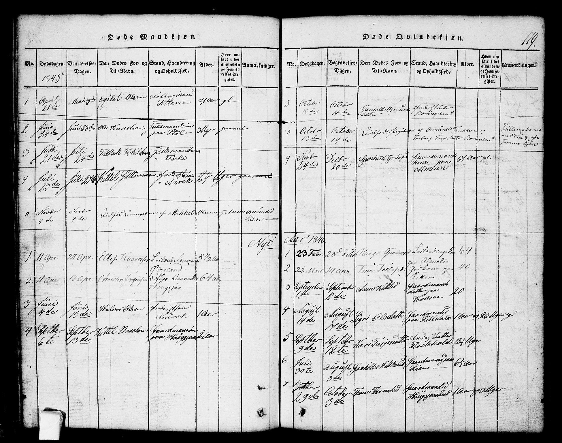 SAKO, Nissedal kirkebøker, G/Gb/L0001: Klokkerbok nr. II 1, 1814-1862, s. 119