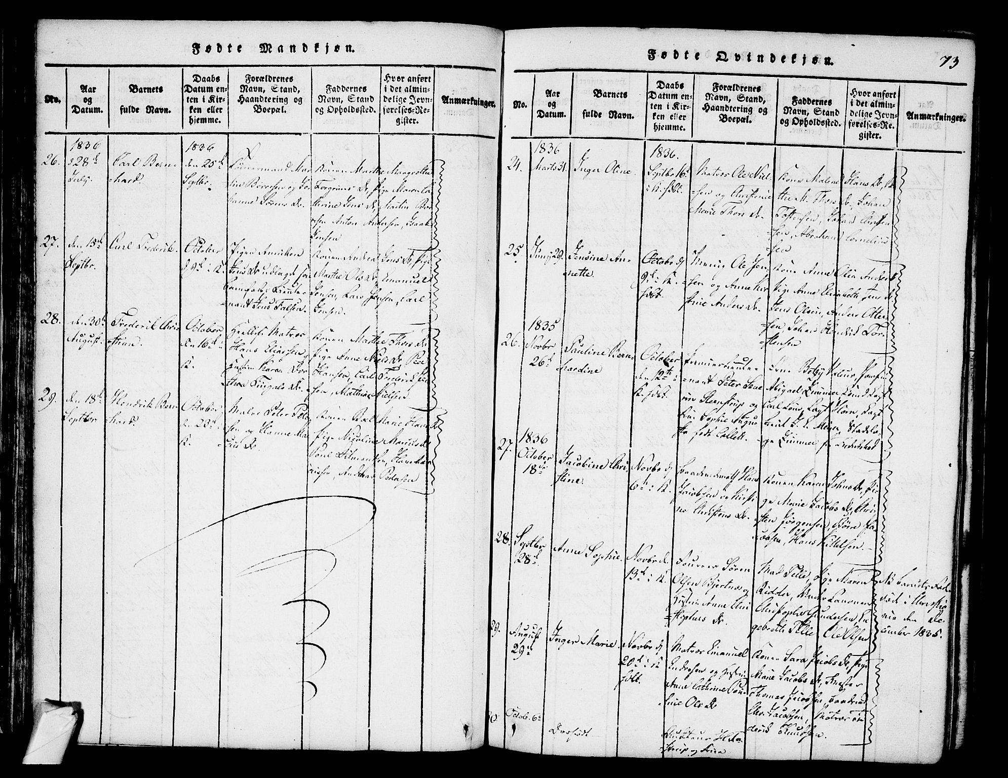 SAKO, Stavern kirkebøker, F/Fa/L0006: Ministerialbok nr. 6, 1816-1839, s. 73