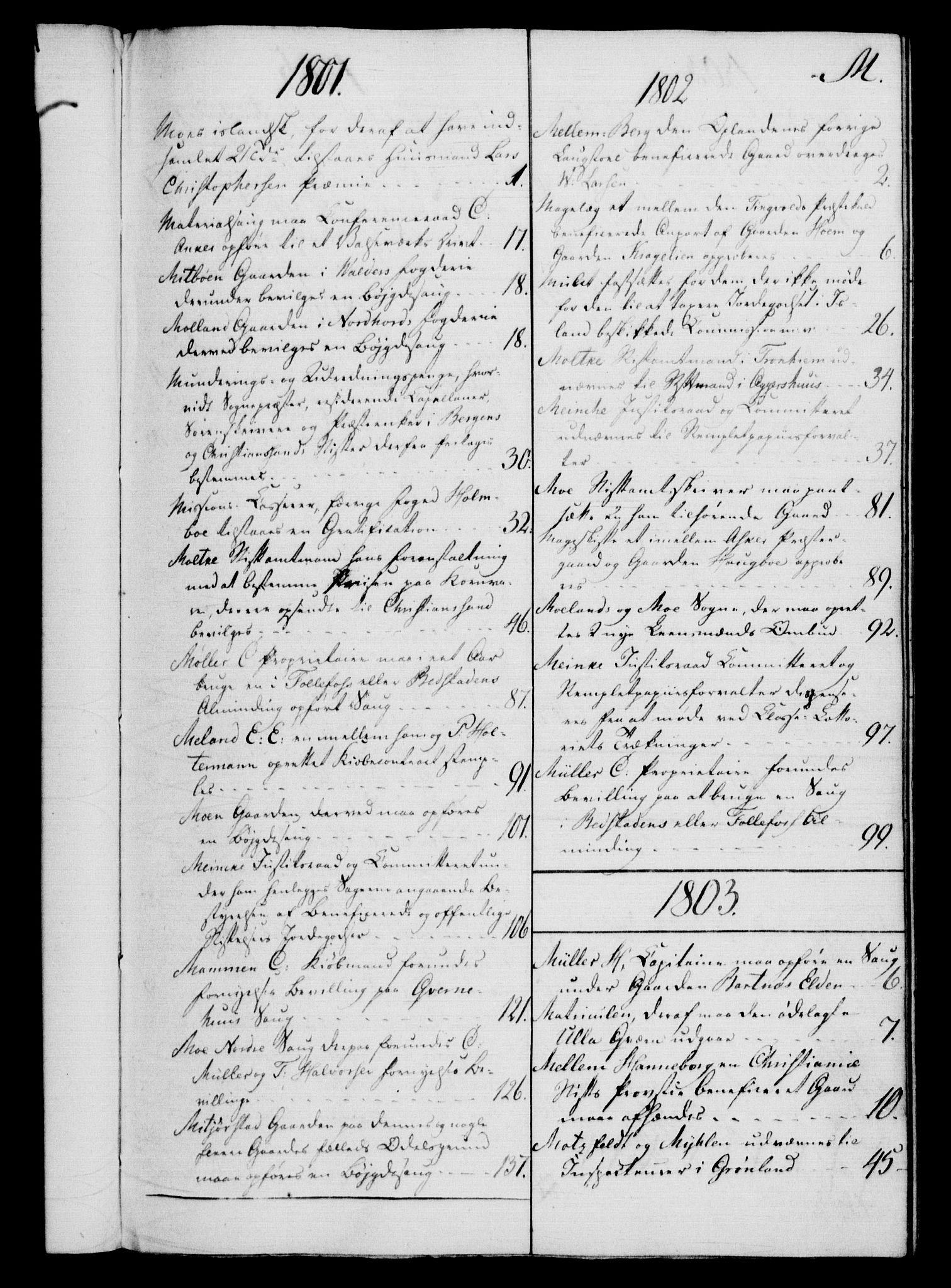 RA, Rentekammeret, Kammerkanselliet, G/Gf/Gfb/L0016: Register til norske relasjons- og resolusjonsprotokoller (merket RK 52.111), 1801-1814, s. 111