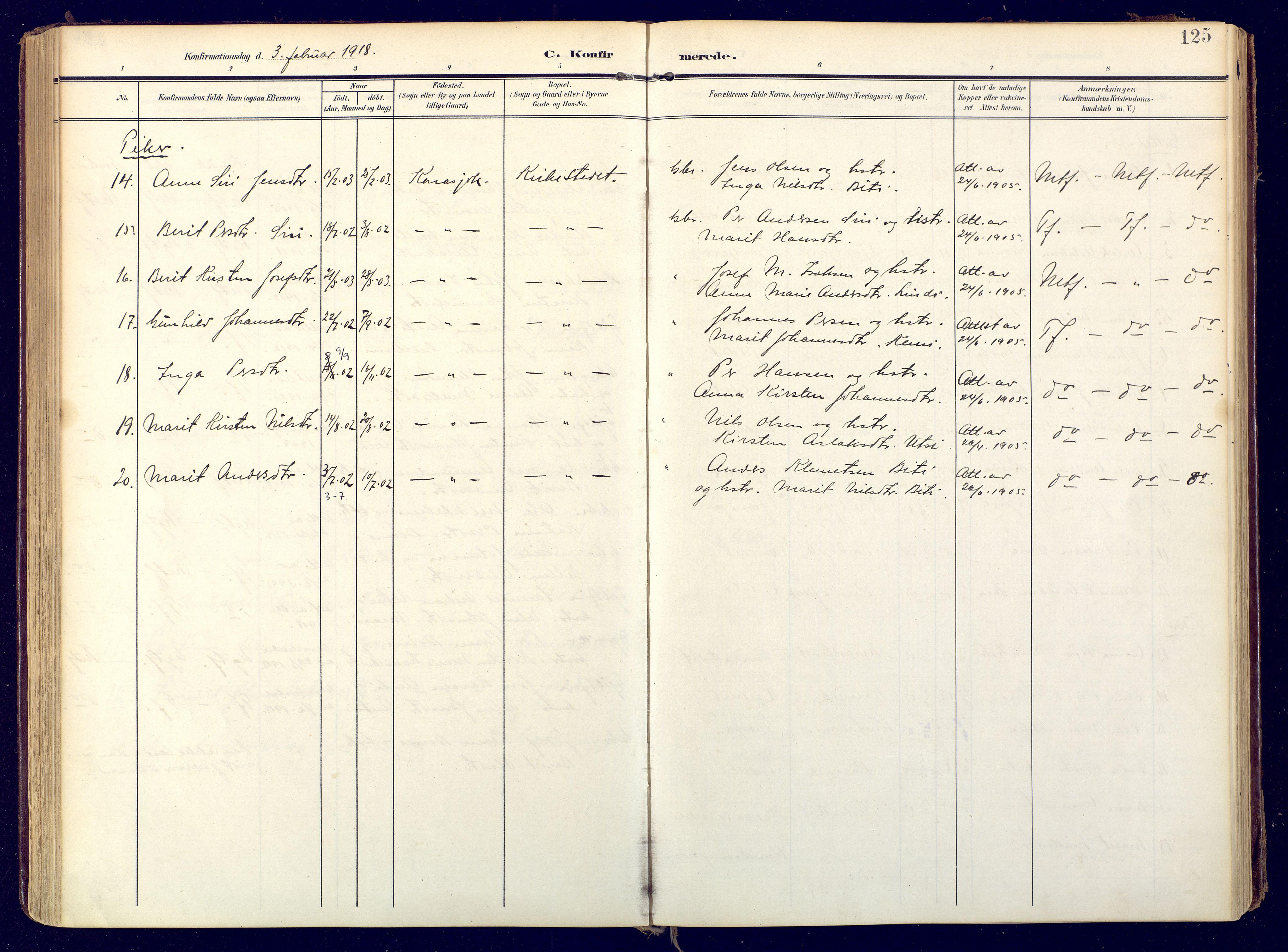 SATØ, Karasjok sokneprestkontor, H/Ha: Ministerialbok nr. 3, 1907-1926, s. 125