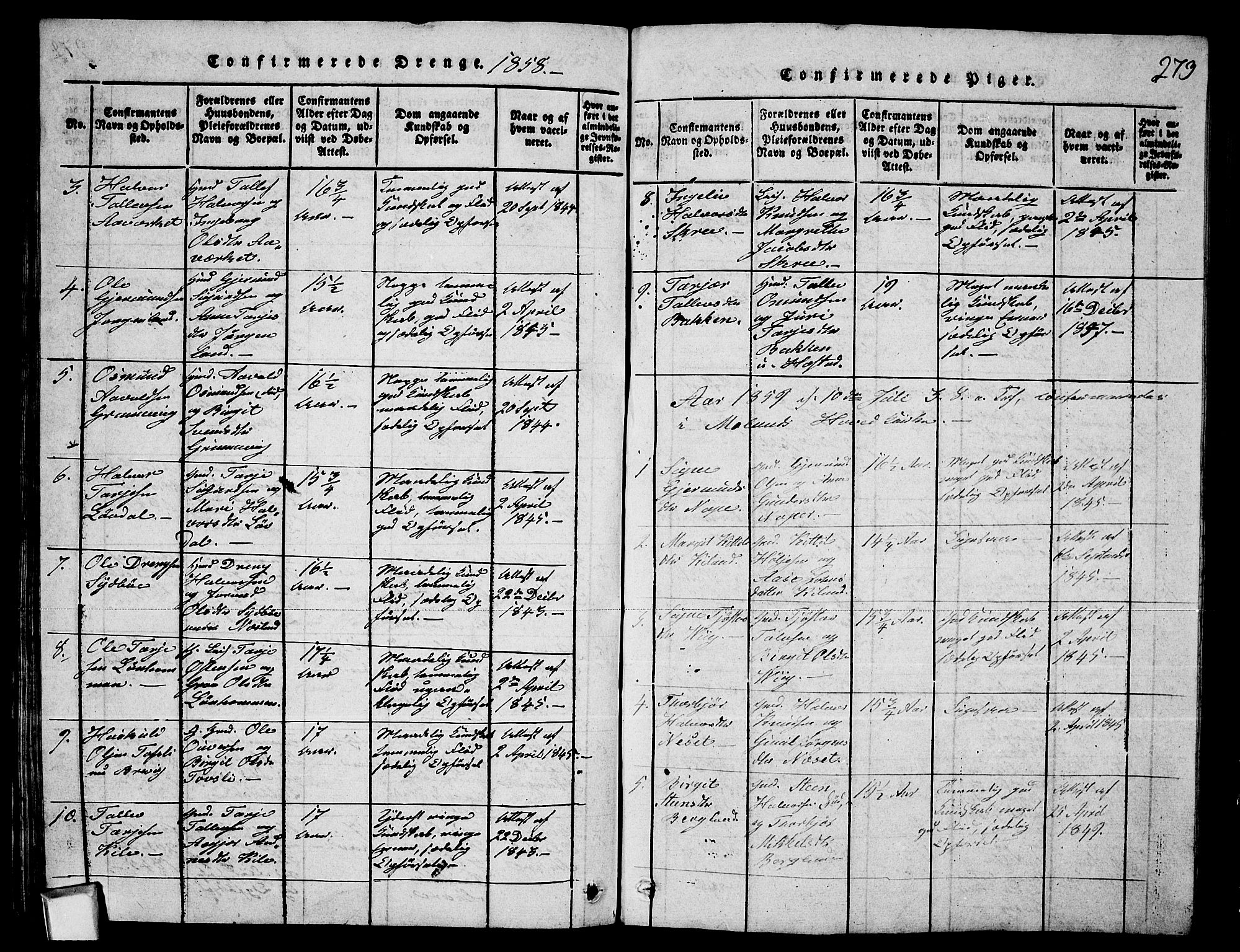 SAKO, Fyresdal kirkebøker, G/Ga/L0003: Klokkerbok nr. I 3, 1815-1863, s. 273