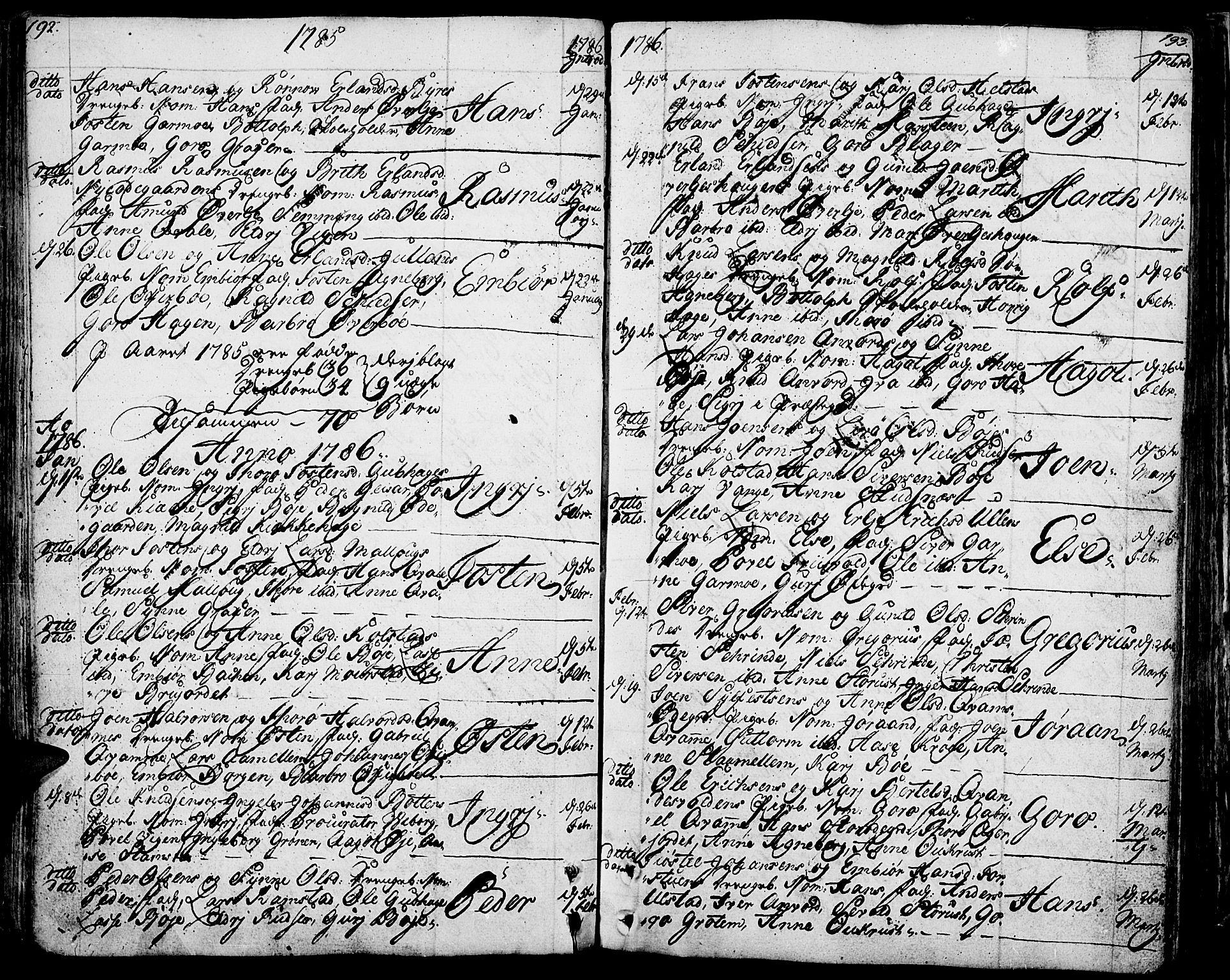 SAH, Lom prestekontor, K/L0002: Ministerialbok nr. 2, 1749-1801, s. 192-193