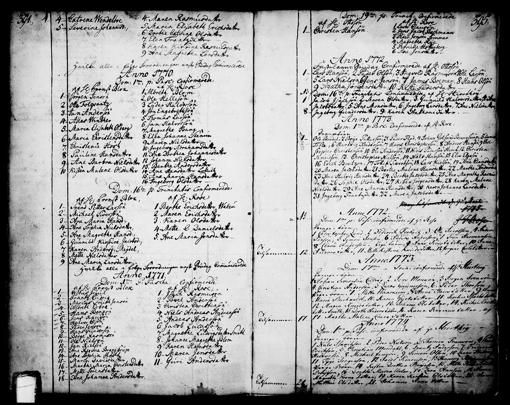 SAKO, Skien kirkebøker, F/Fa/L0003: Ministerialbok nr. 3, 1755-1791, s. 394-395