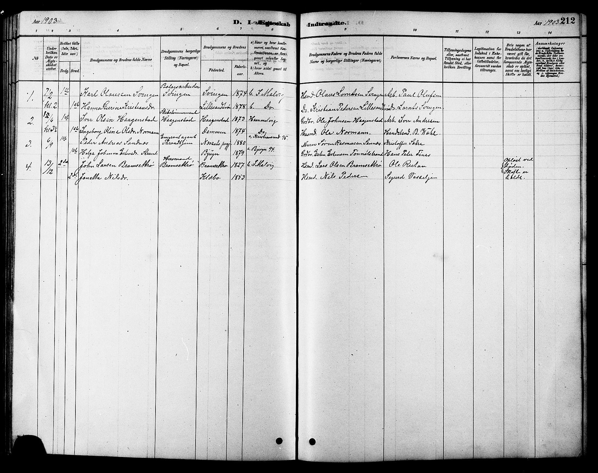 SAT, Ministerialprotokoller, klokkerbøker og fødselsregistre - Sør-Trøndelag, 616/L0423: Klokkerbok nr. 616C06, 1878-1903, s. 212
