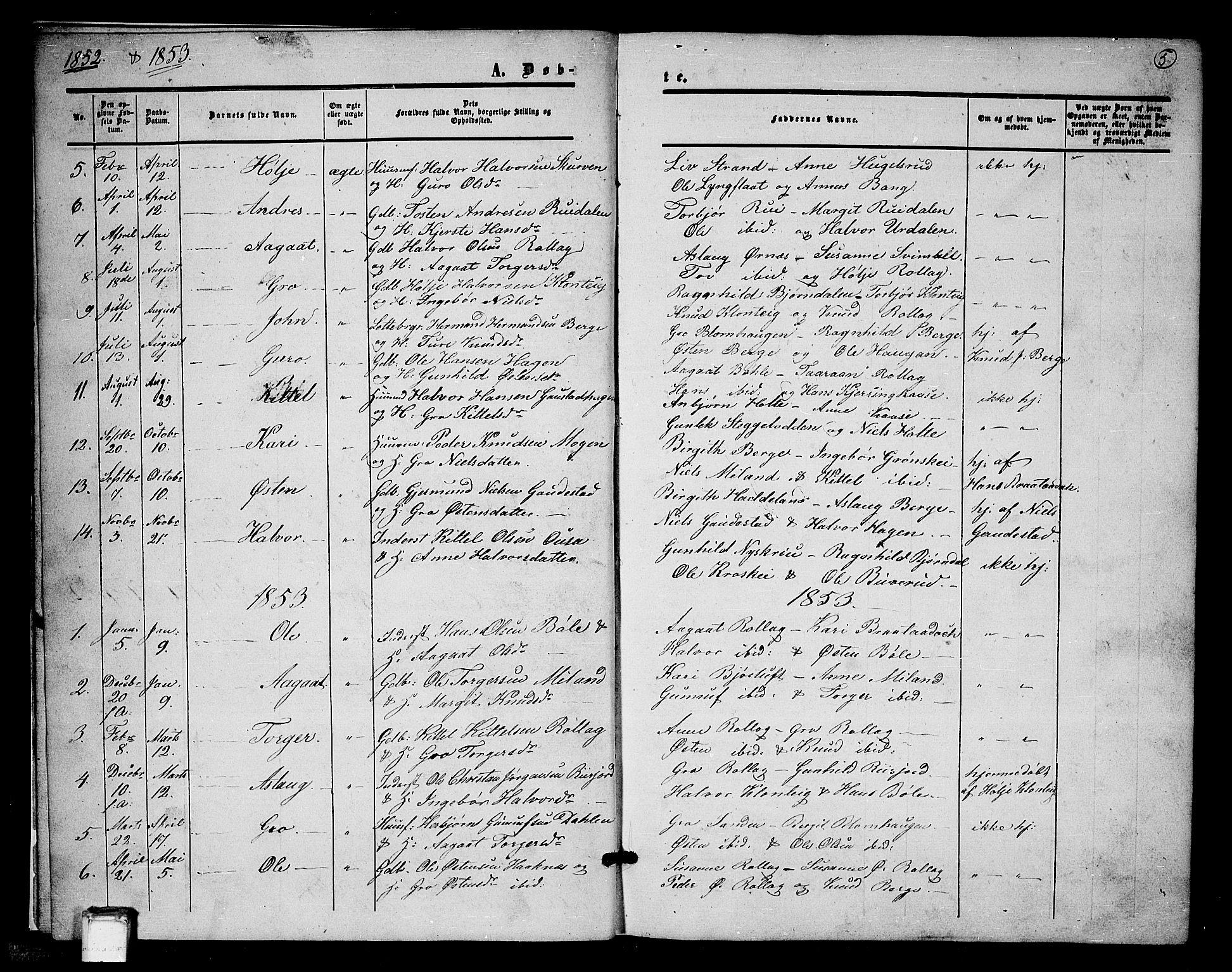 SAKO, Tinn kirkebøker, G/Gb/L0002: Klokkerbok nr. II 2, 1851-1886, s. 5