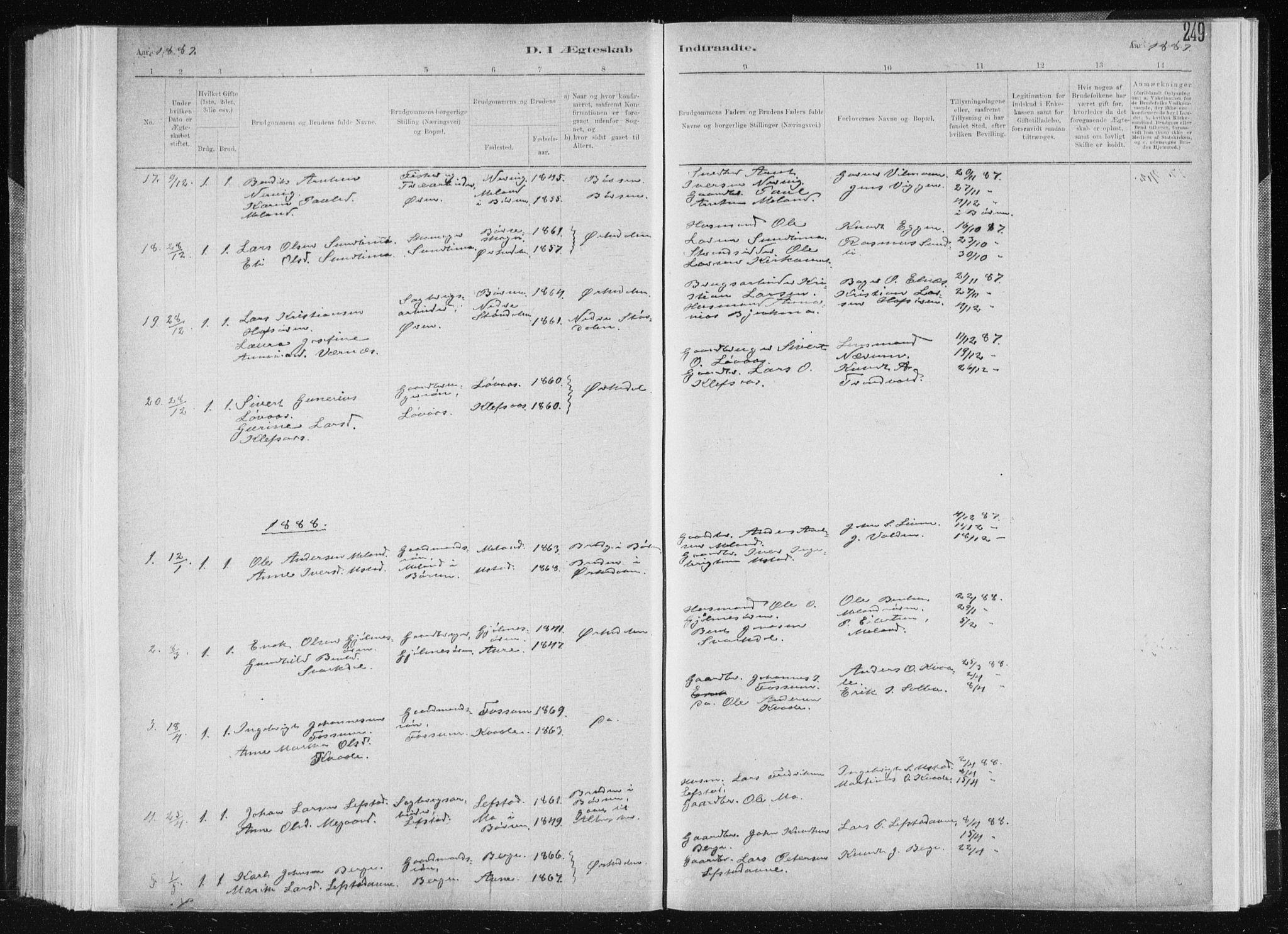 SAT, Ministerialprotokoller, klokkerbøker og fødselsregistre - Sør-Trøndelag, 668/L0818: Klokkerbok nr. 668C07, 1885-1898, s. 249