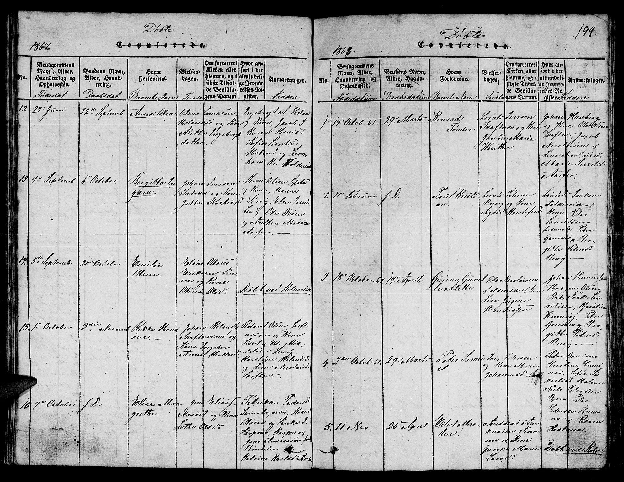 SAT, Ministerialprotokoller, klokkerbøker og fødselsregistre - Nord-Trøndelag, 780/L0648: Klokkerbok nr. 780C01 /3, 1815-1877, s. 194