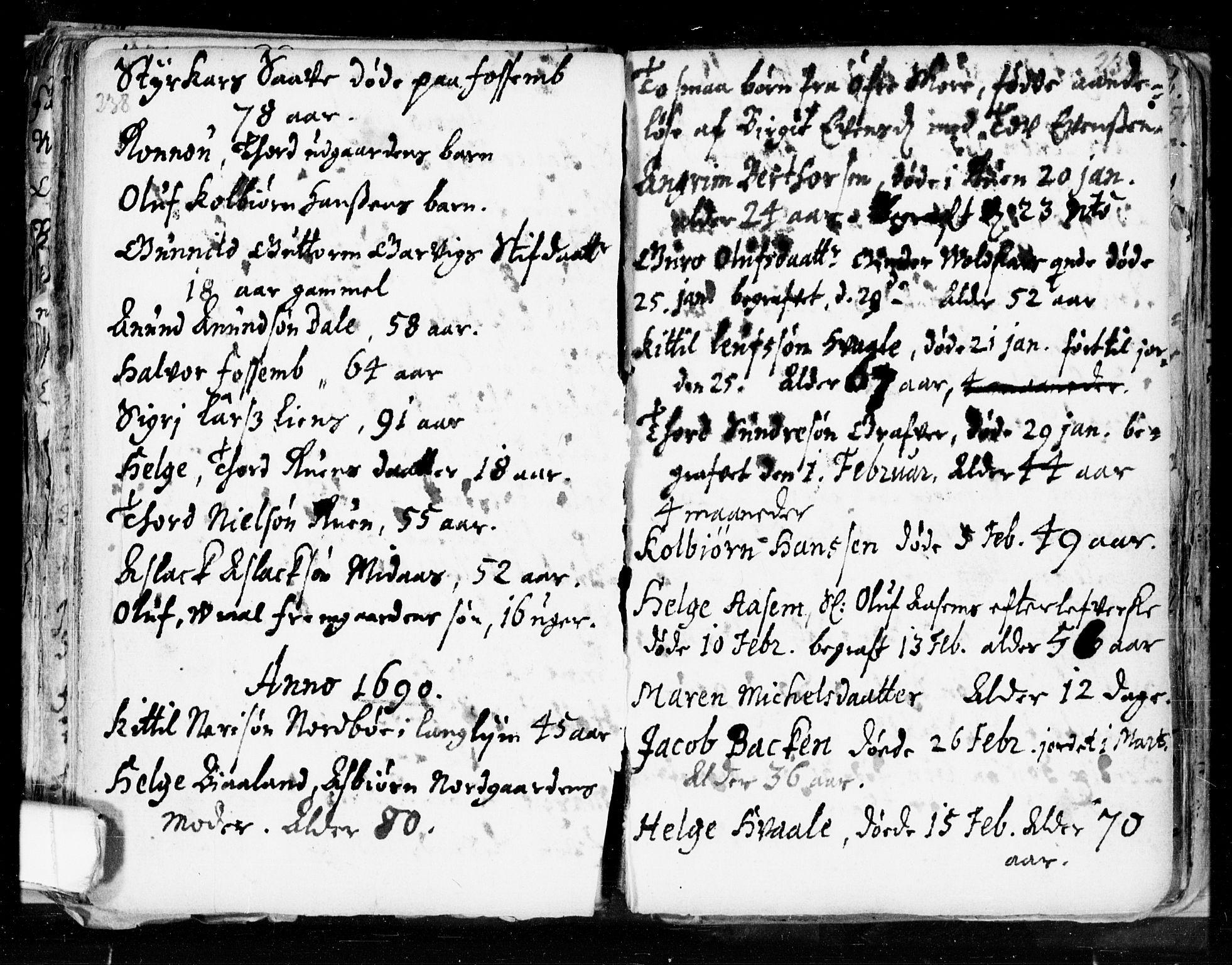 SAKO, Seljord kirkebøker, F/Fa/L0002: Ministerialbok nr. I 2, 1689-1713, s. 238-239