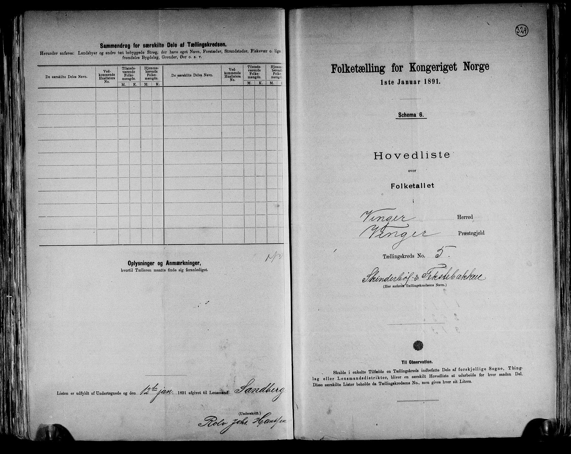 RA, Folketelling 1891 for 0421 Vinger herred, 1891, s. 12