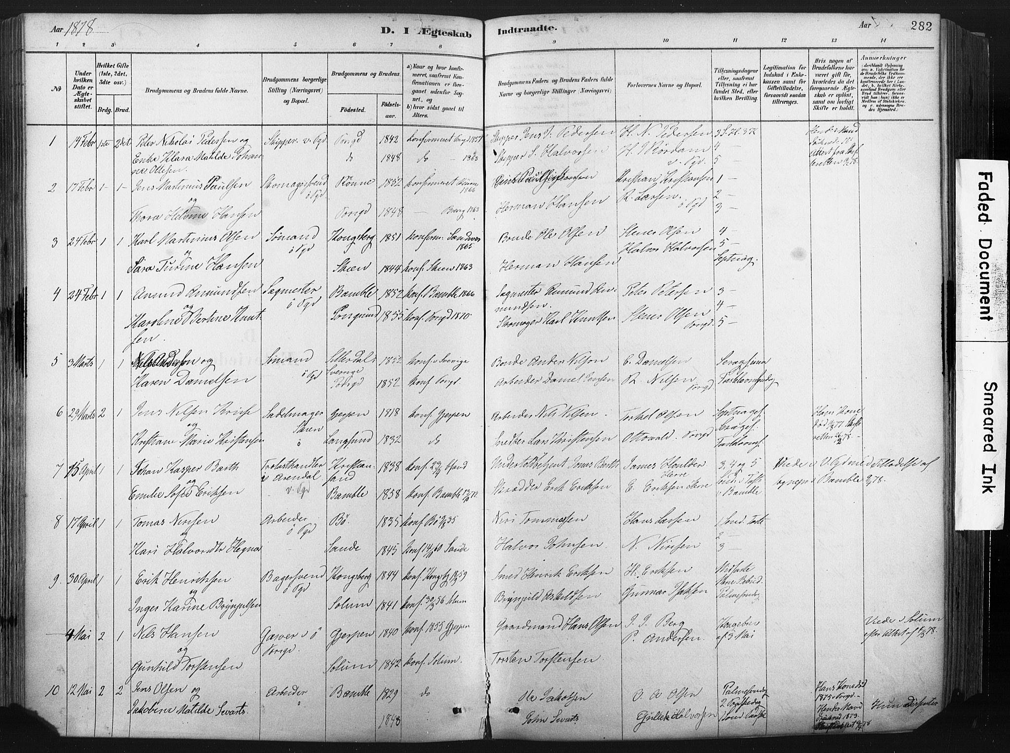 SAKO, Porsgrunn kirkebøker , F/Fa/L0008: Ministerialbok nr. 8, 1878-1895, s. 282