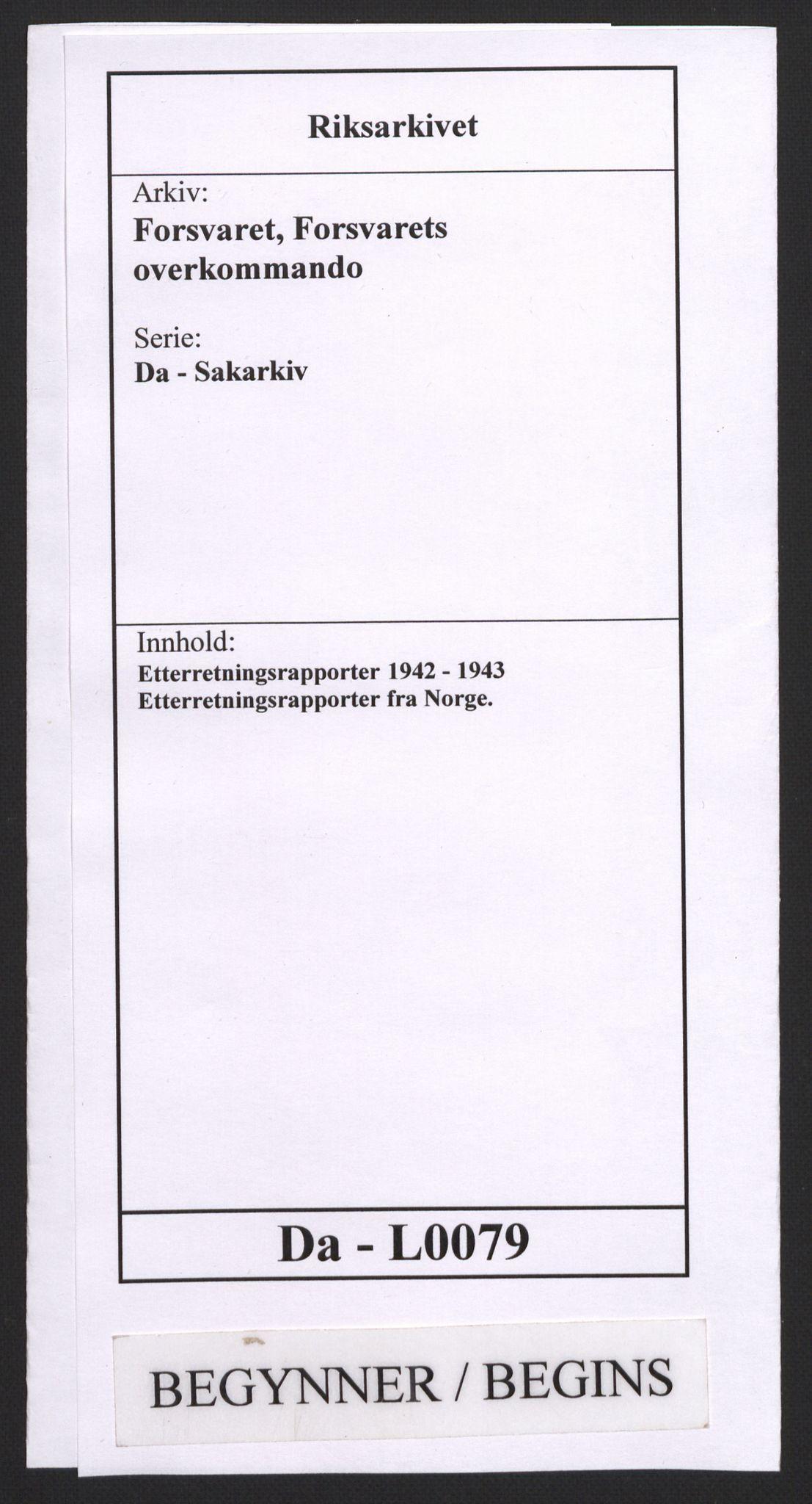 RA, Forsvaret, Forsvarets overkommando, Da/L0079: Etterretningsrapporter, 1942, s. upaginert