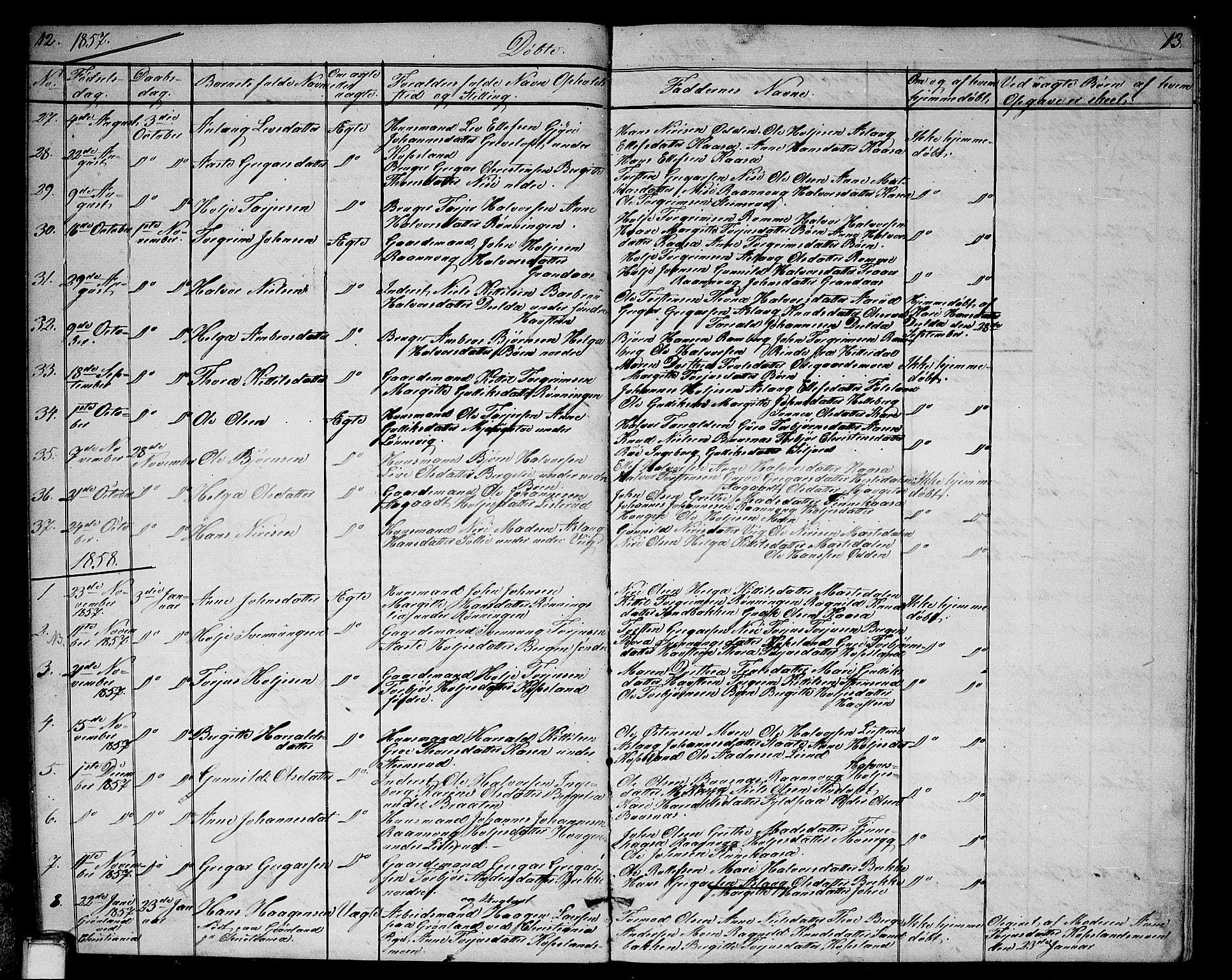 SAKO, Gransherad kirkebøker, G/Ga/L0002: Klokkerbok nr. I 2, 1854-1886, s. 12-13