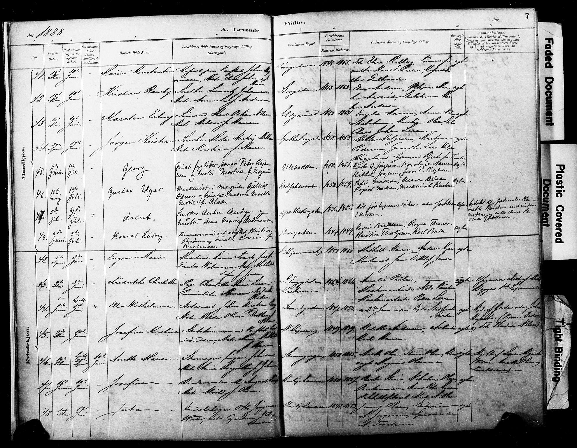 SAKO, Horten kirkebøker, F/Fa/L0004: Ministerialbok nr. 4, 1888-1895, s. 7