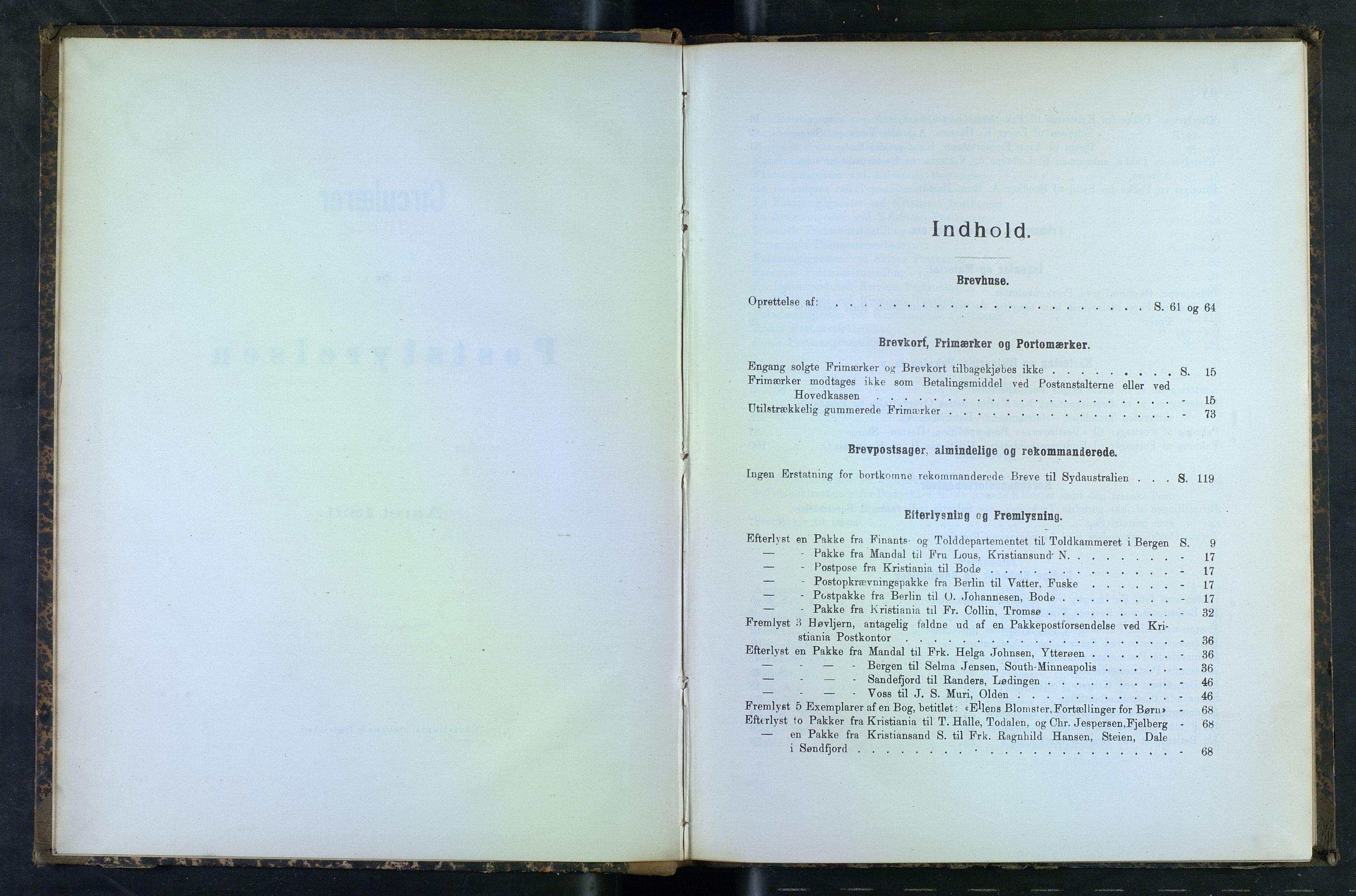 NOPO, Norges Postmuseums bibliotek, -/-: Sirkulærer fra Poststyrelsen, 1891