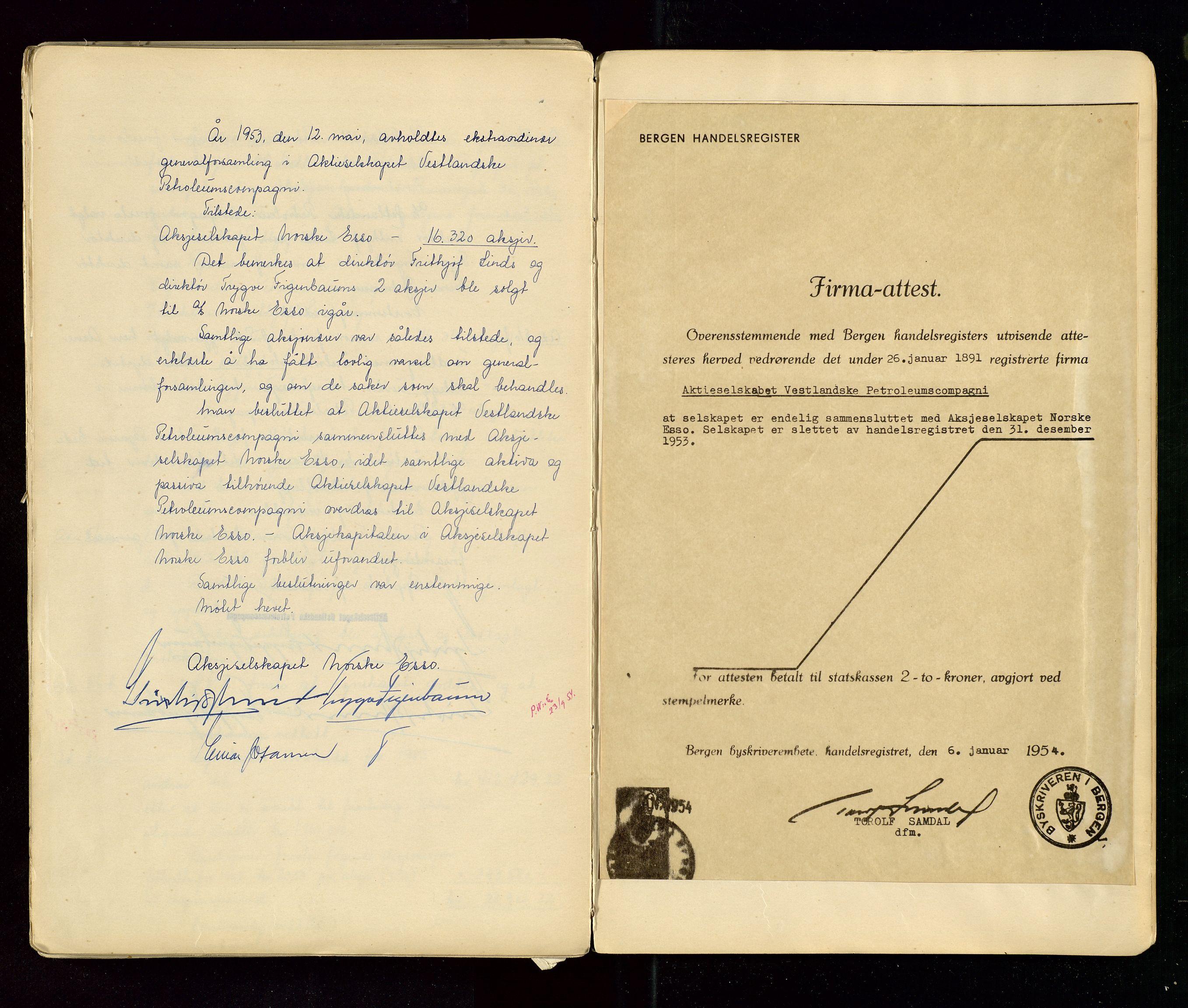 SAST, PA 1533 - A/S Vestlandske Petroleumscompani, A/Aa/L0001: Generalforsamlinger og styreprotokoller, 1890-1953, s. 146