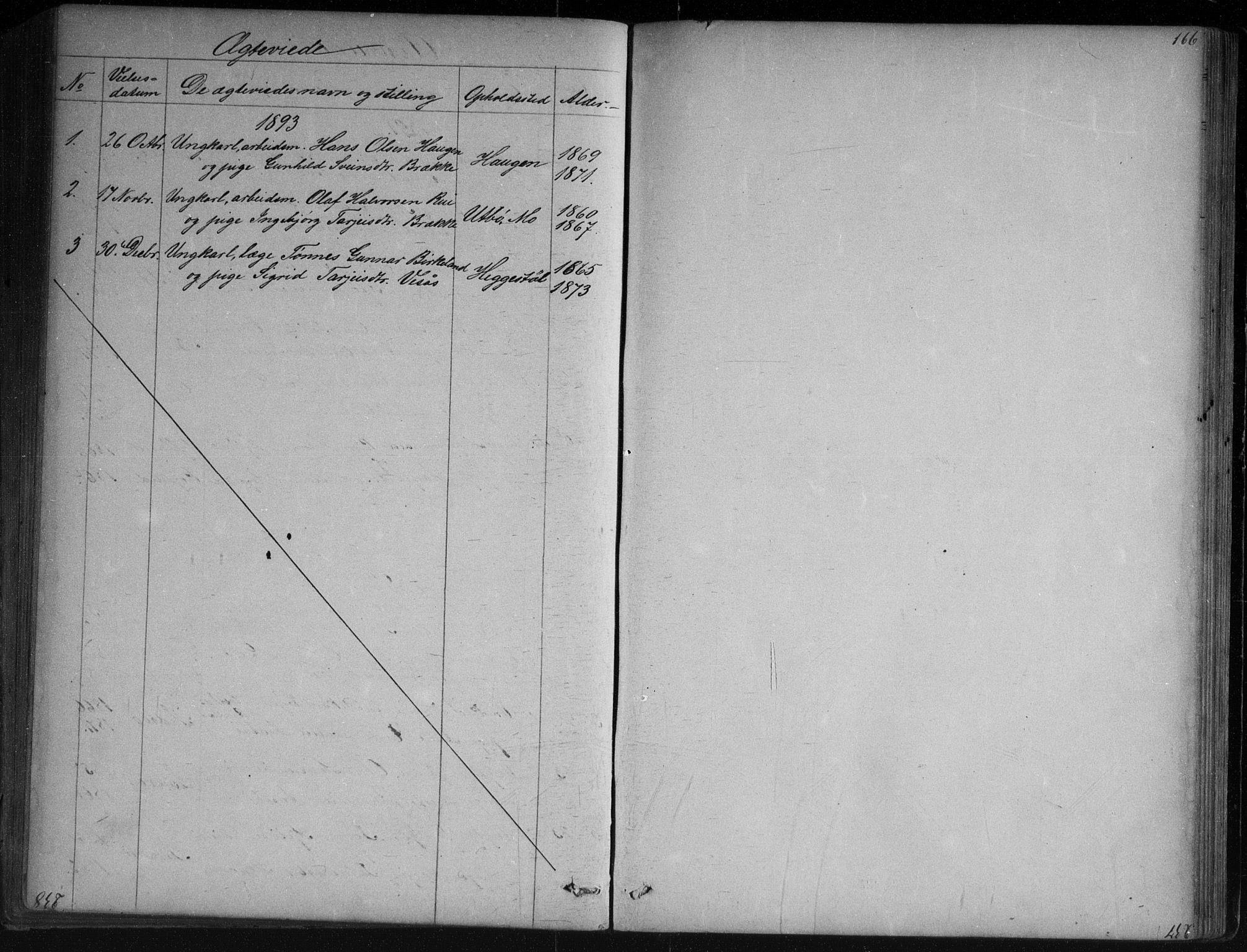 SAKO, Vinje kirkebøker, G/Ga/L0002: Klokkerbok nr. I 2, 1849-1893, s. 166
