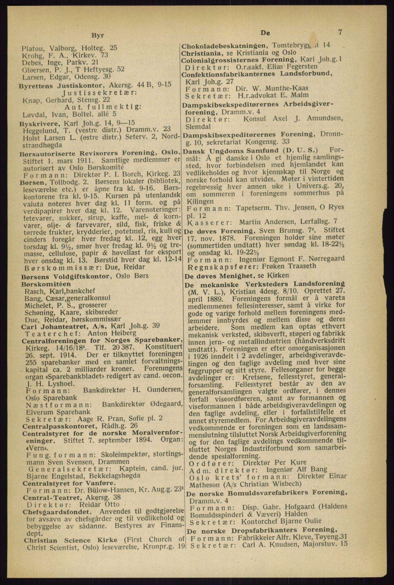 RA, Oslo adressebok (publikasjon)*, 1933, s. 7