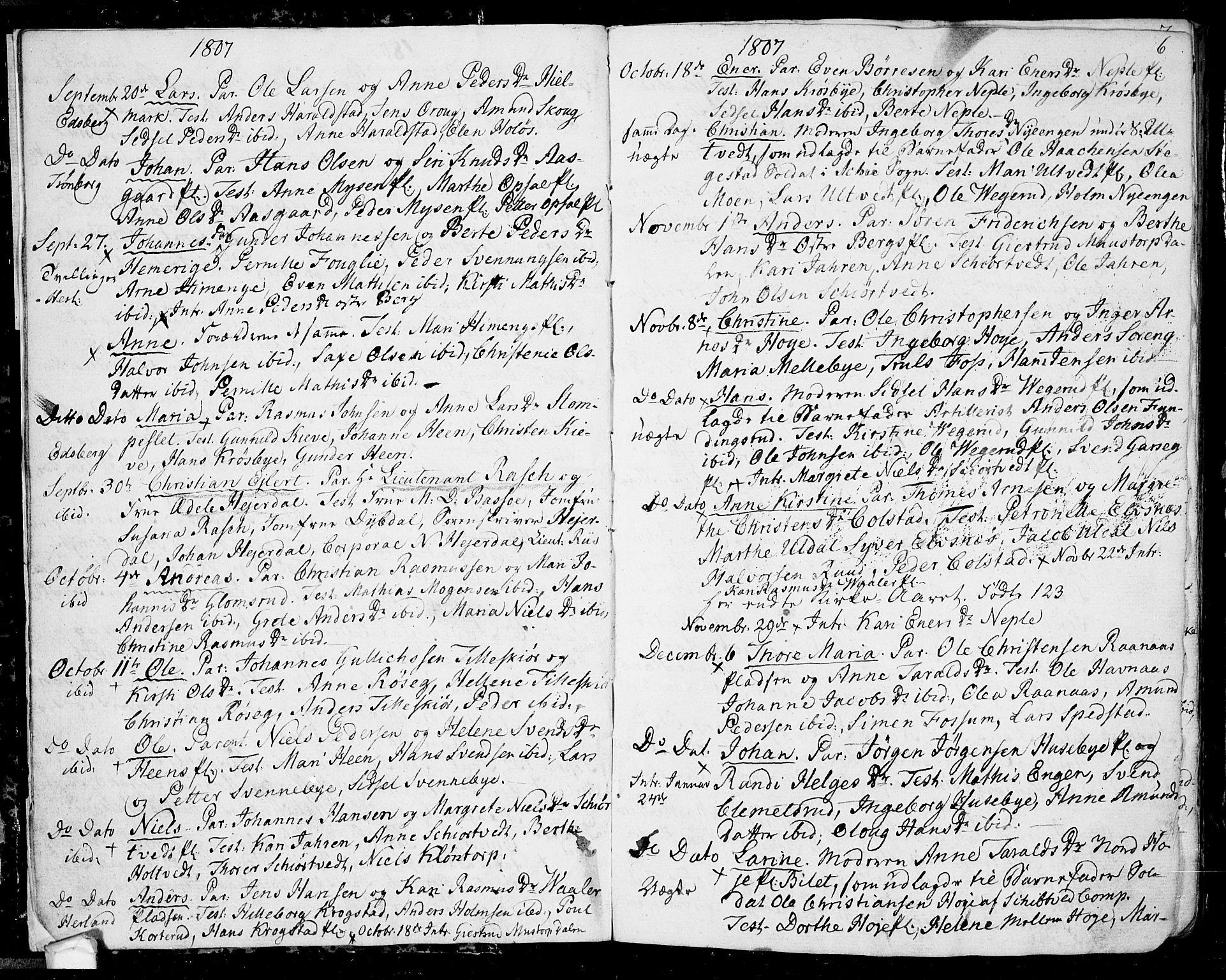 SAO, Eidsberg prestekontor Kirkebøker, F/Fa/L0006: Ministerialbok nr. I 6, 1807-1814, s. 6