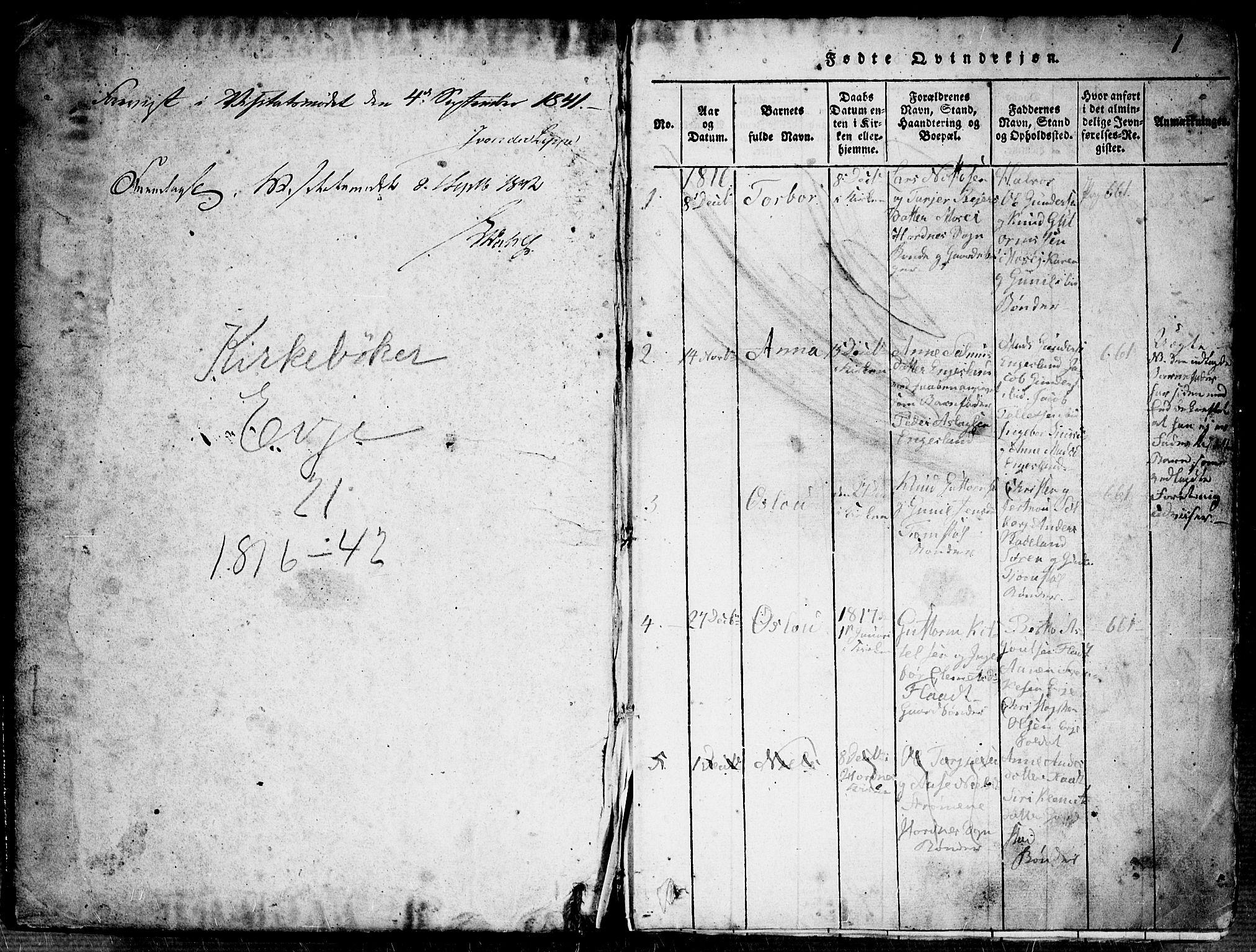 SAK, Evje sokneprestkontor, F/Fb/Fba/L0001: Klokkerbok nr. B 1, 1816-1842, s. 0-1
