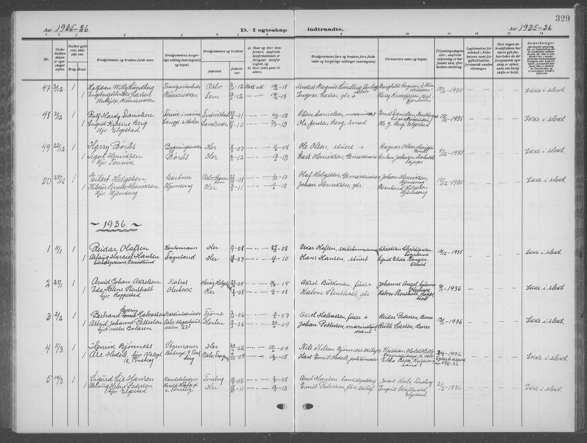SAKO, Nøtterøy kirkebøker, G/Ga/L0006: Klokkerbok nr. I 6, 1925-1939, s. 329