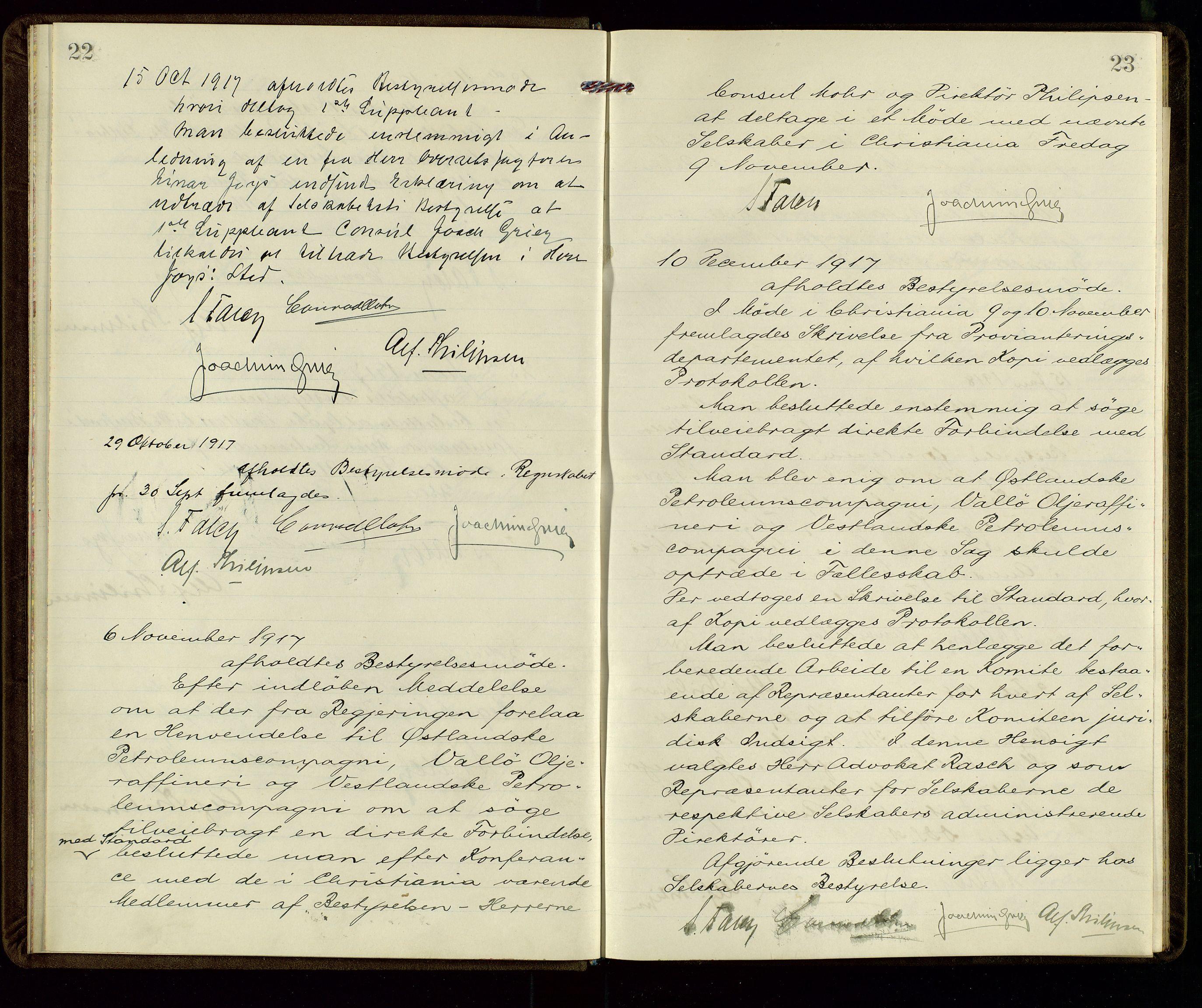 SAST, PA 1533 - A/S Vestlandske Petroleumscompani, A/Aa/L0001: Generalforsamlinger og styreprotokoller, 1915-1922, s. 22-23