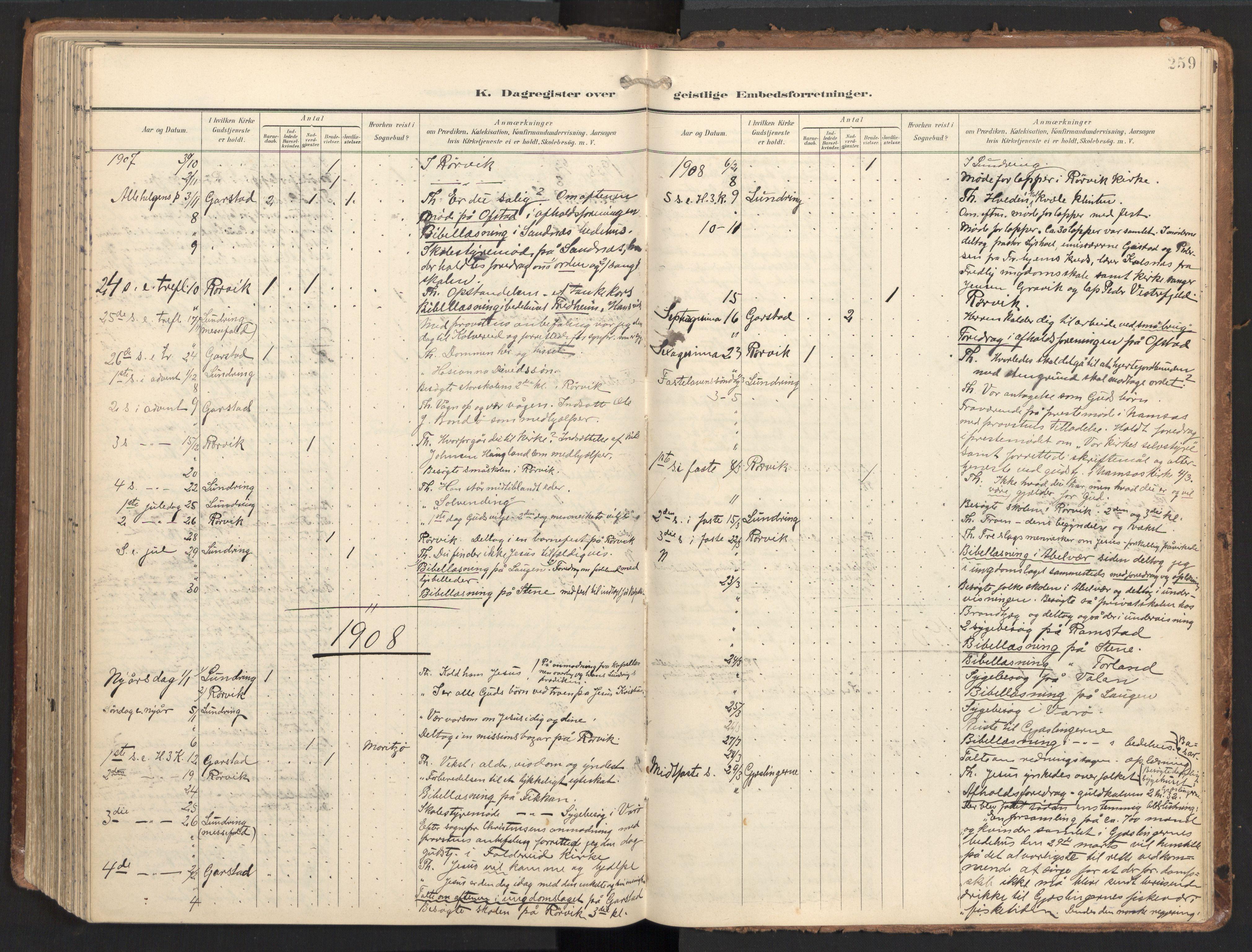 SAT, Ministerialprotokoller, klokkerbøker og fødselsregistre - Nord-Trøndelag, 784/L0677: Ministerialbok nr. 784A12, 1900-1920, s. 259