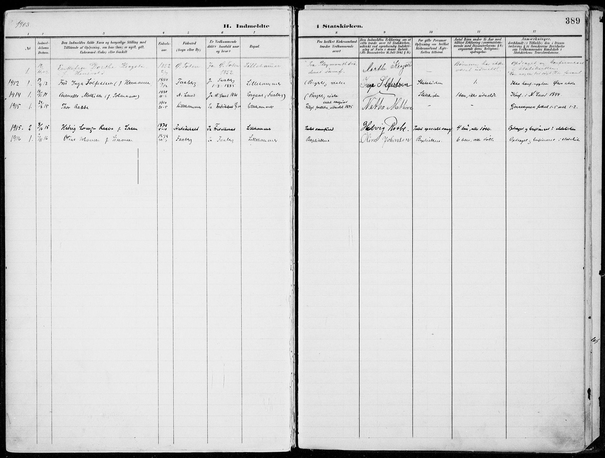 SAH, Lillehammer prestekontor, Ministerialbok nr. 1, 1901-1916, s. 389