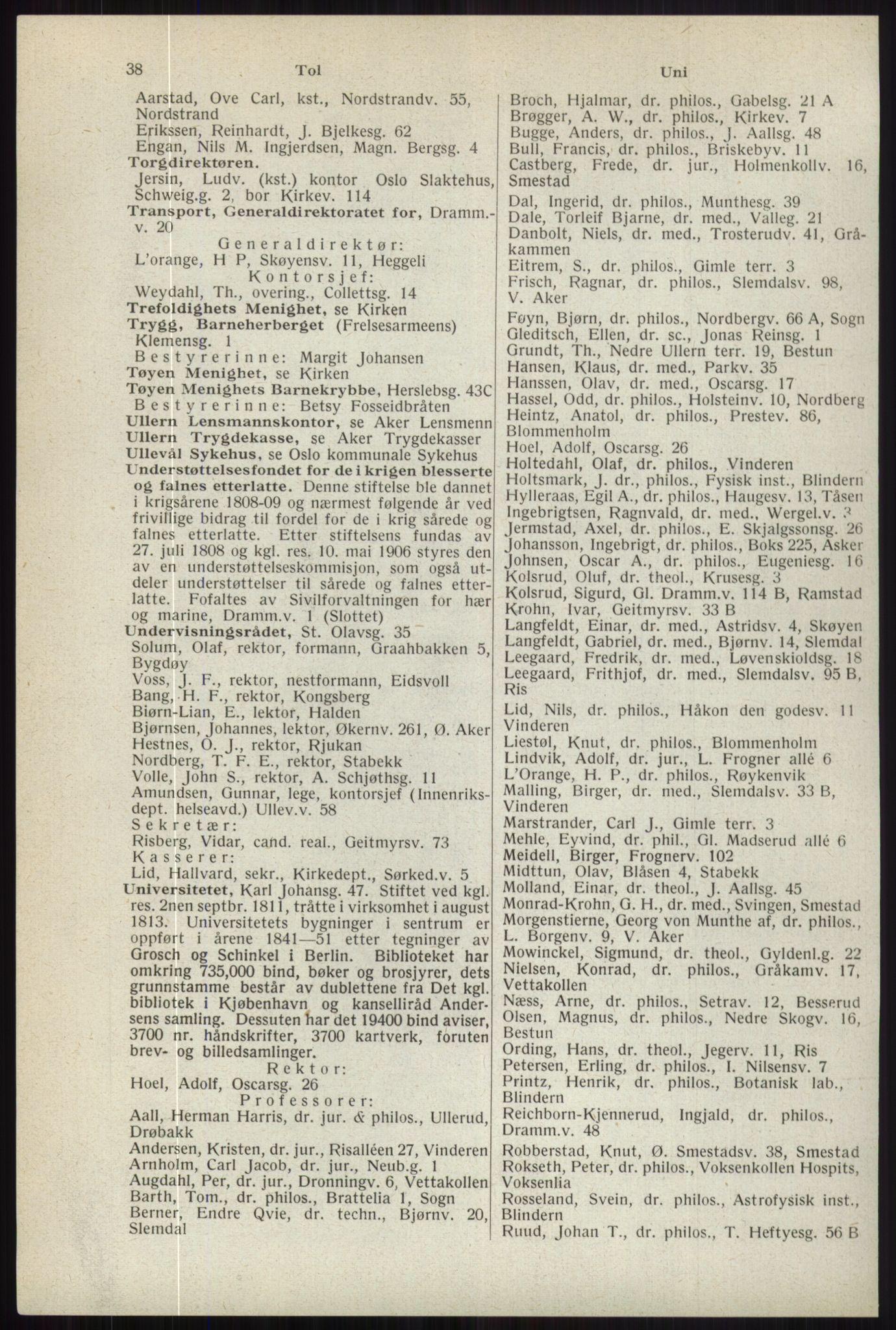 RA, Oslo adressebok (publikasjon)*, 1944, s. 38