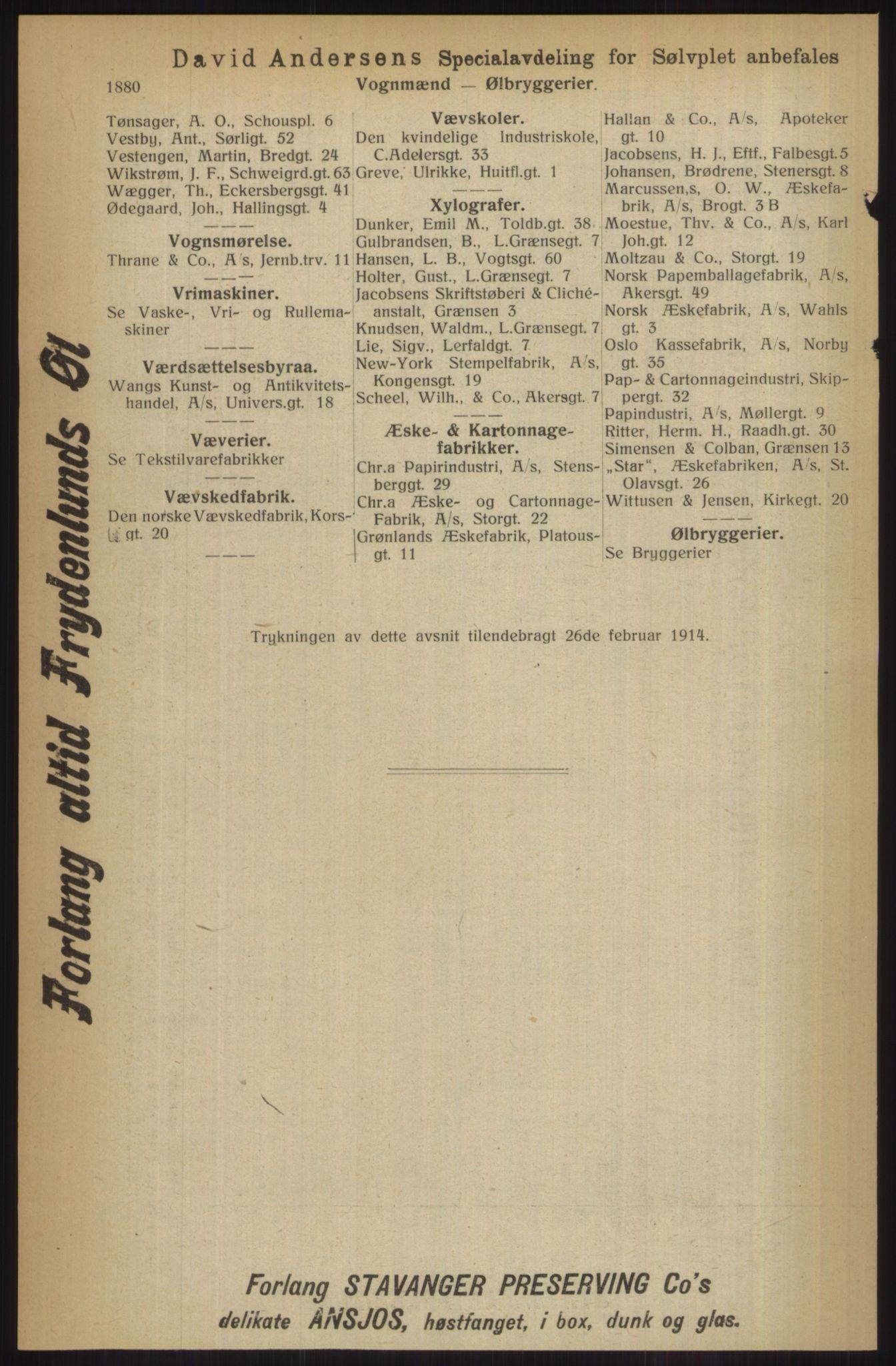 RA, Kristiania adressebok (publikasjon)*, 1914, s. 1880