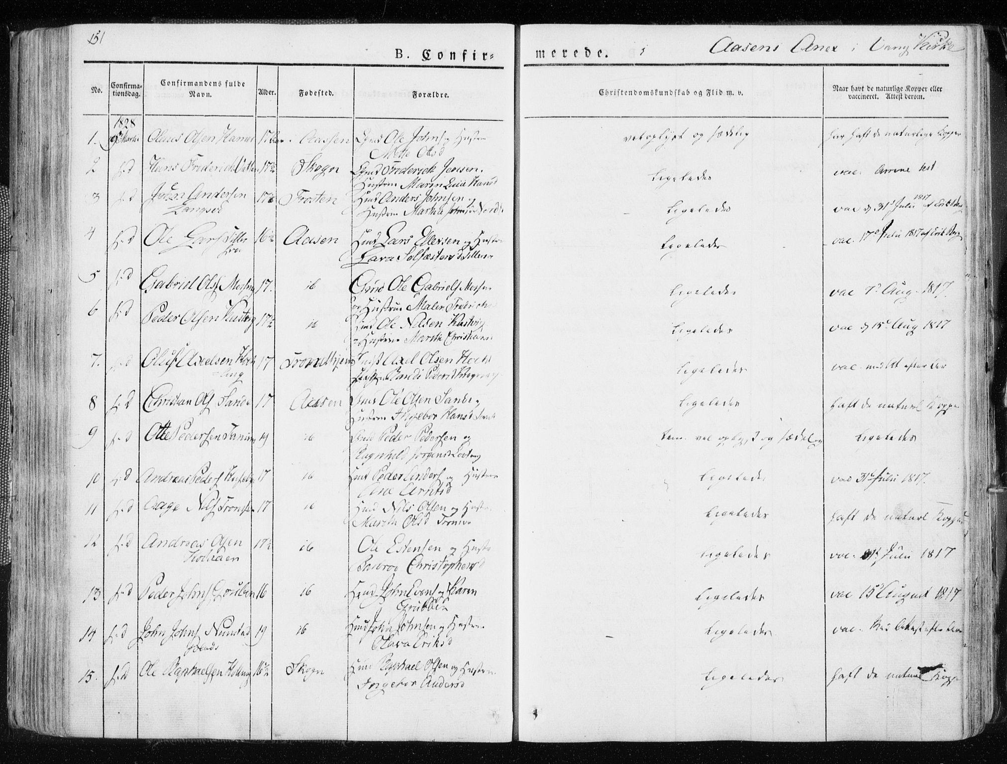 SAT, Ministerialprotokoller, klokkerbøker og fødselsregistre - Nord-Trøndelag, 713/L0114: Ministerialbok nr. 713A05, 1827-1839, s. 151
