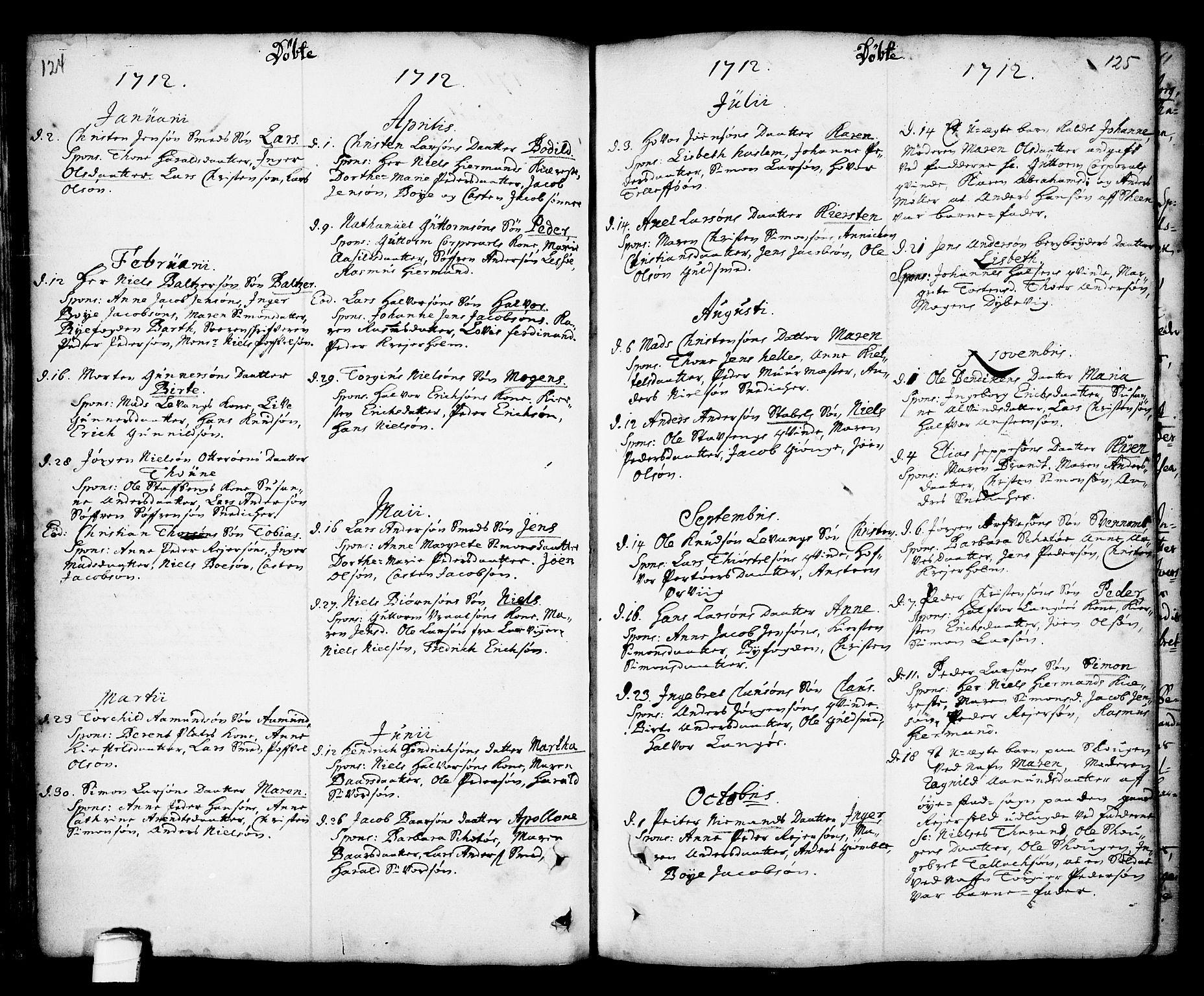 SAKO, Kragerø kirkebøker, F/Fa/L0001: Ministerialbok nr. 1, 1702-1766, s. 124-125