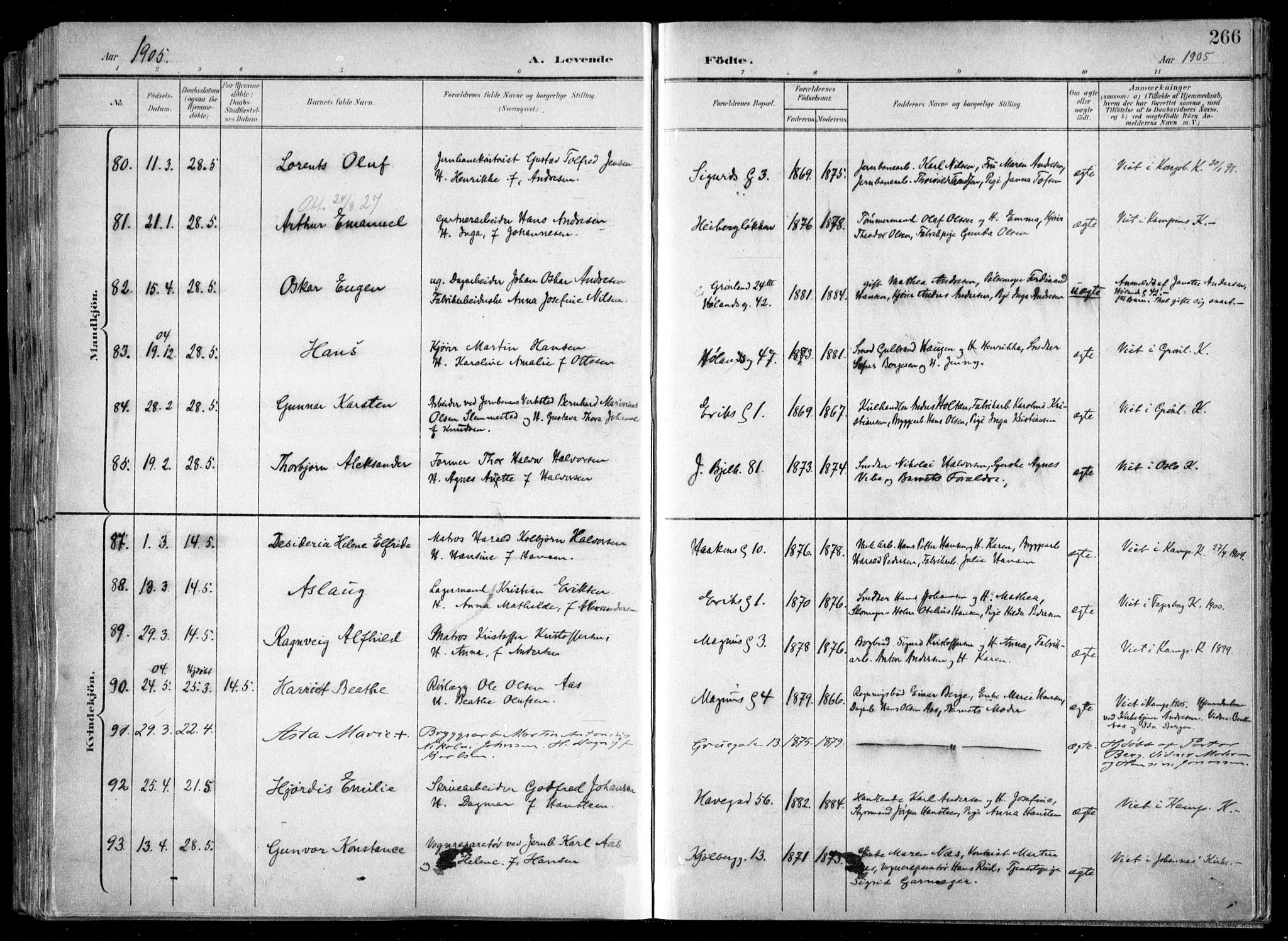 SAO, Kampen prestekontor Kirkebøker, F/Fa/L0007: Ministerialbok nr. I 7, 1897-1905, s. 266