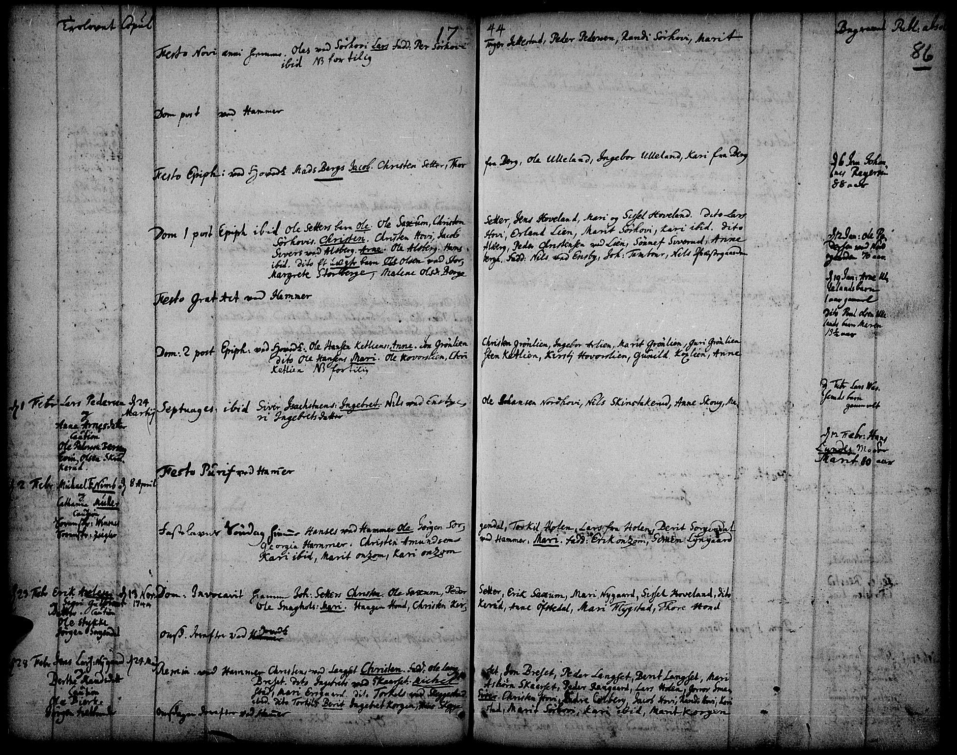 SAH, Fåberg prestekontor, Ministerialbok nr. 1, 1727-1775, s. 86