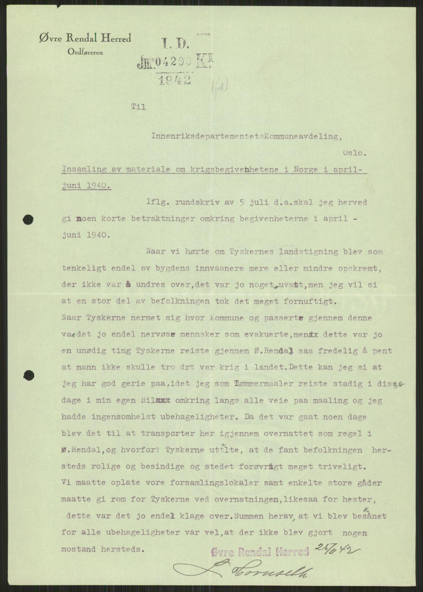 RA, Forsvaret, Forsvarets krigshistoriske avdeling, Y/Ya/L0013: II-C-11-31 - Fylkesmenn.  Rapporter om krigsbegivenhetene 1940., 1940, s. 1023