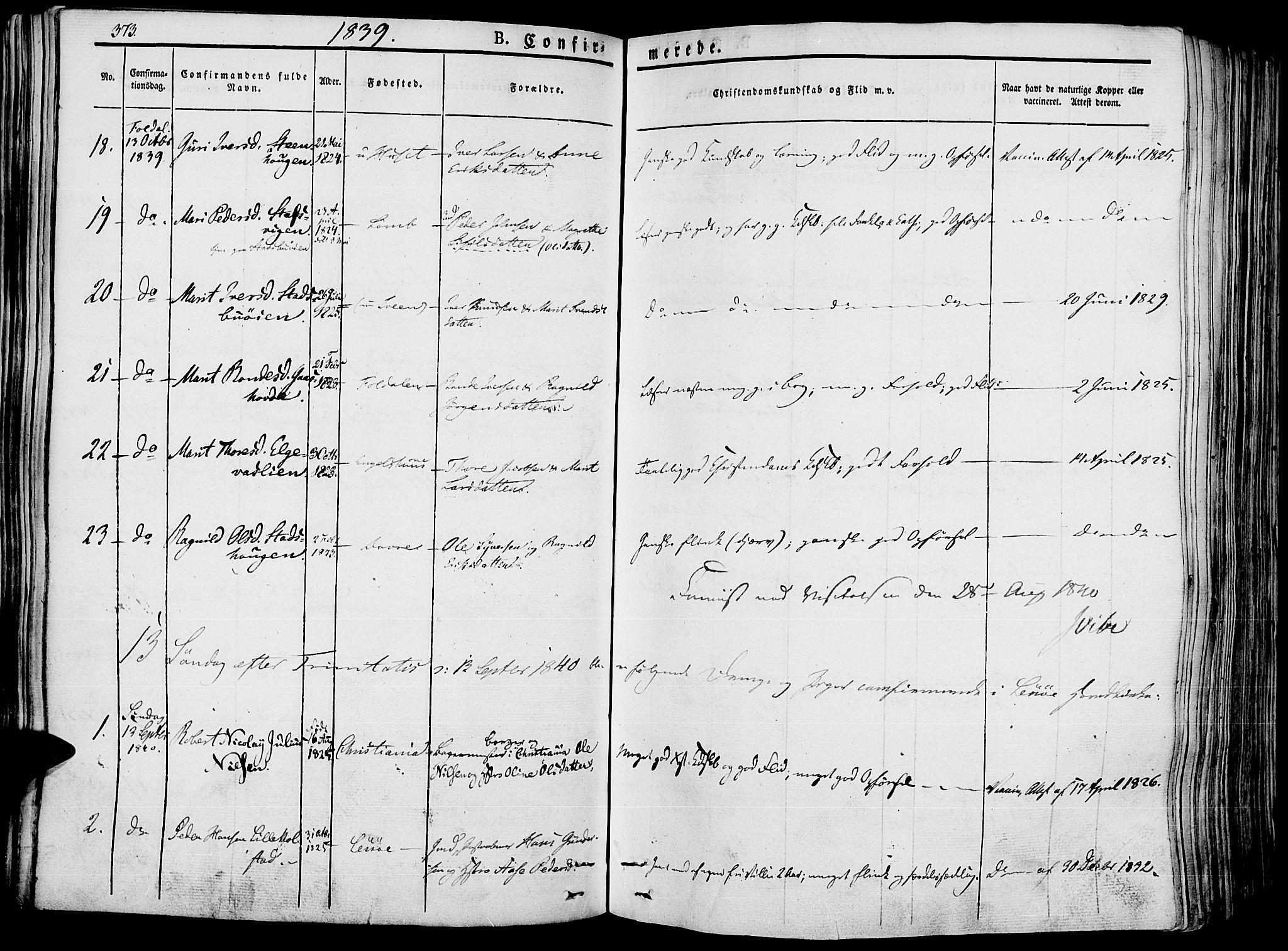 SAH, Lesja prestekontor, Ministerialbok nr. 5, 1830-1842, s. 373