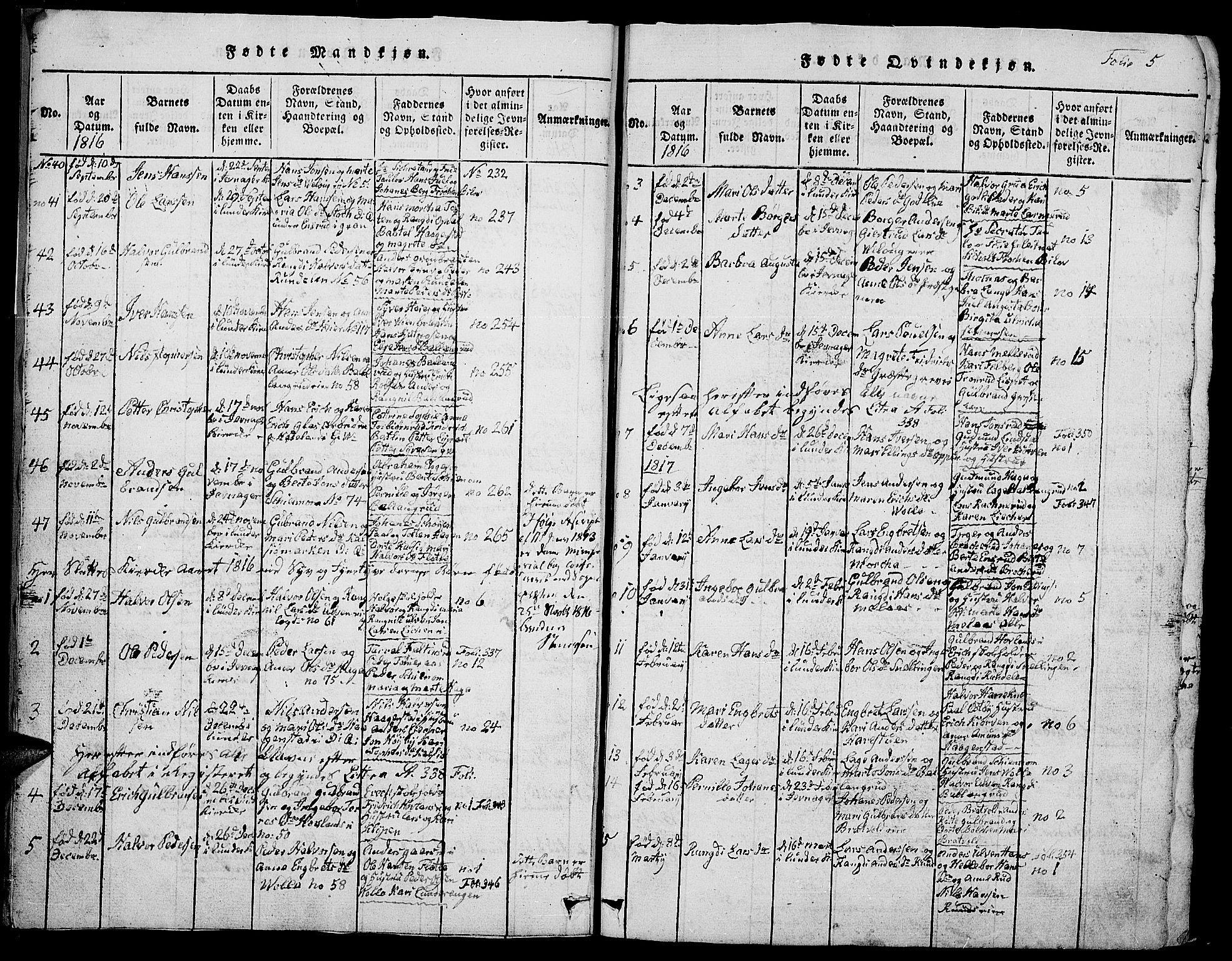 SAH, Jevnaker prestekontor, Klokkerbok nr. 1, 1815-1837, s. 5