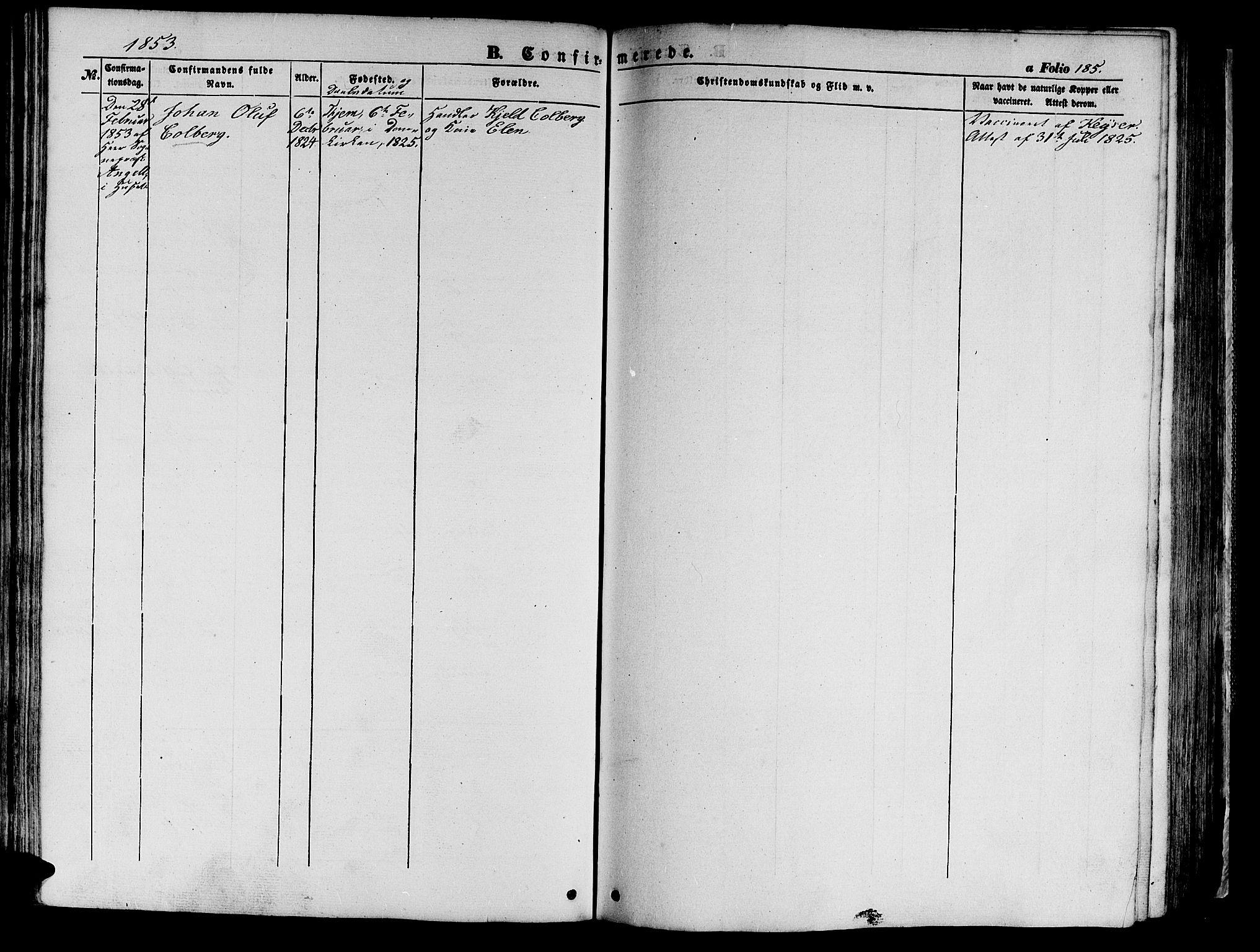 SAT, Ministerialprotokoller, klokkerbøker og fødselsregistre - Sør-Trøndelag, 602/L0137: Klokkerbok nr. 602C05, 1846-1856, s. 185
