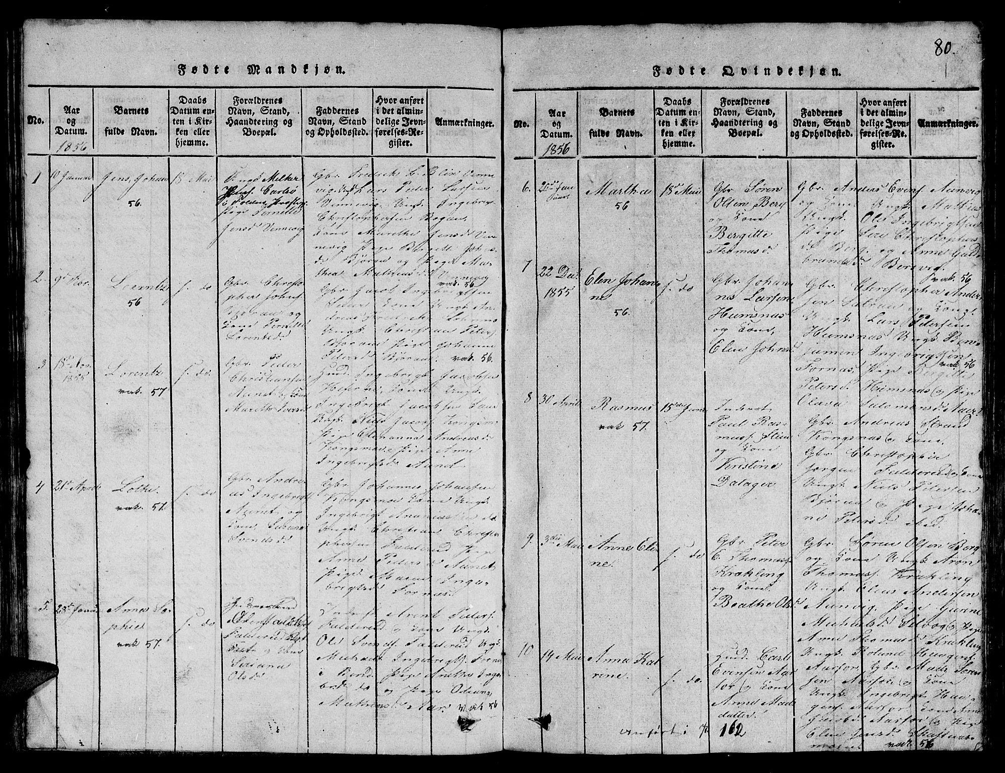 SAT, Ministerialprotokoller, klokkerbøker og fødselsregistre - Nord-Trøndelag, 780/L0648: Klokkerbok nr. 780C01 /3, 1815-1877, s. 80