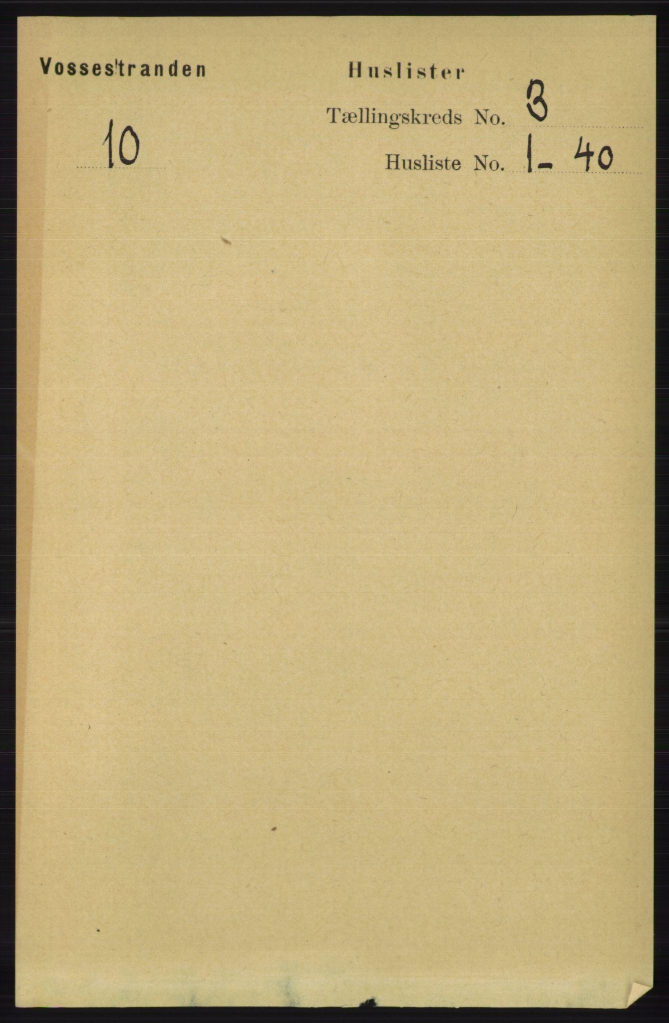 RA, Folketelling 1891 for 1236 Vossestrand herred, 1891, s. 1199