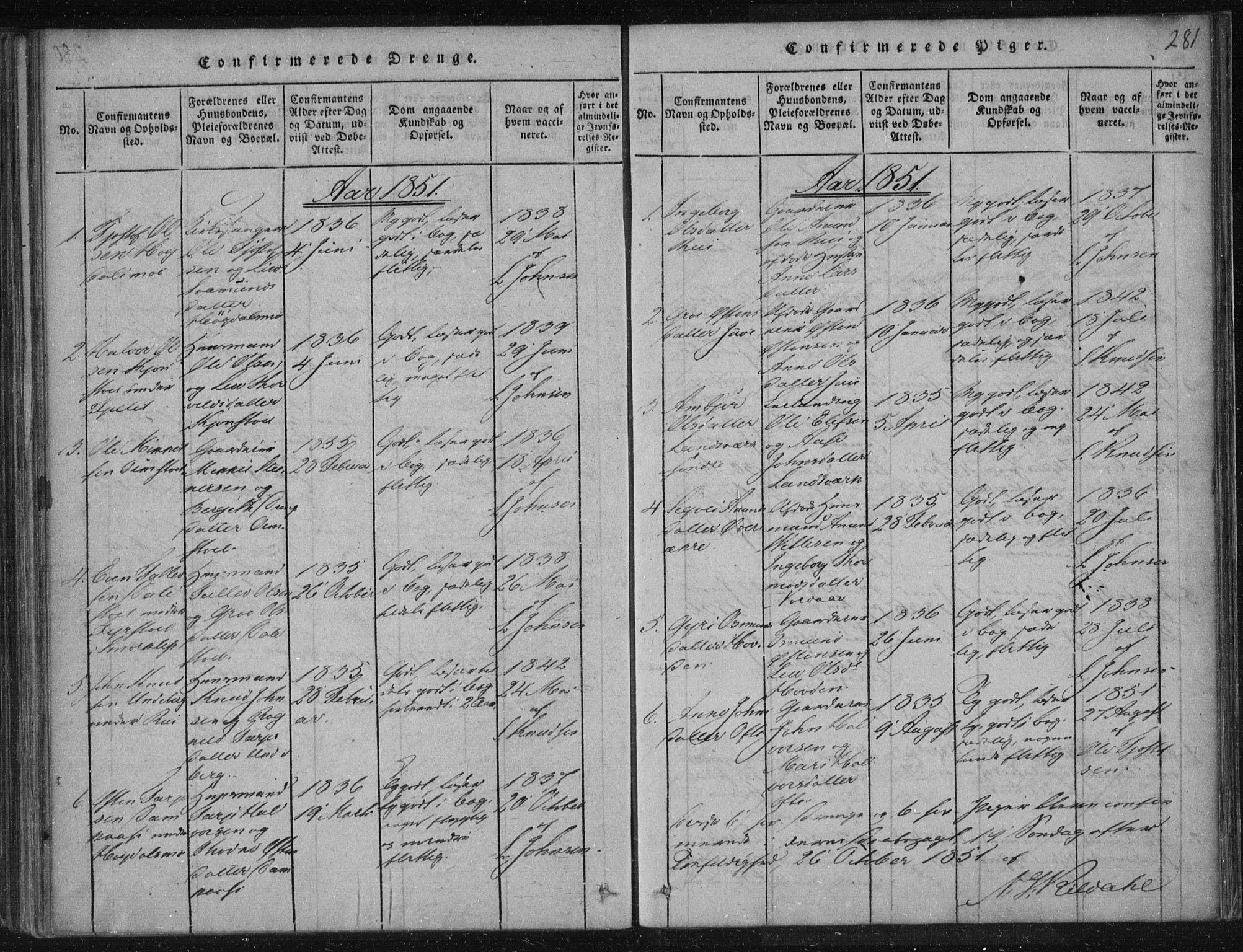 SAKO, Lårdal kirkebøker, F/Fc/L0001: Ministerialbok nr. III 1, 1815-1860, s. 281