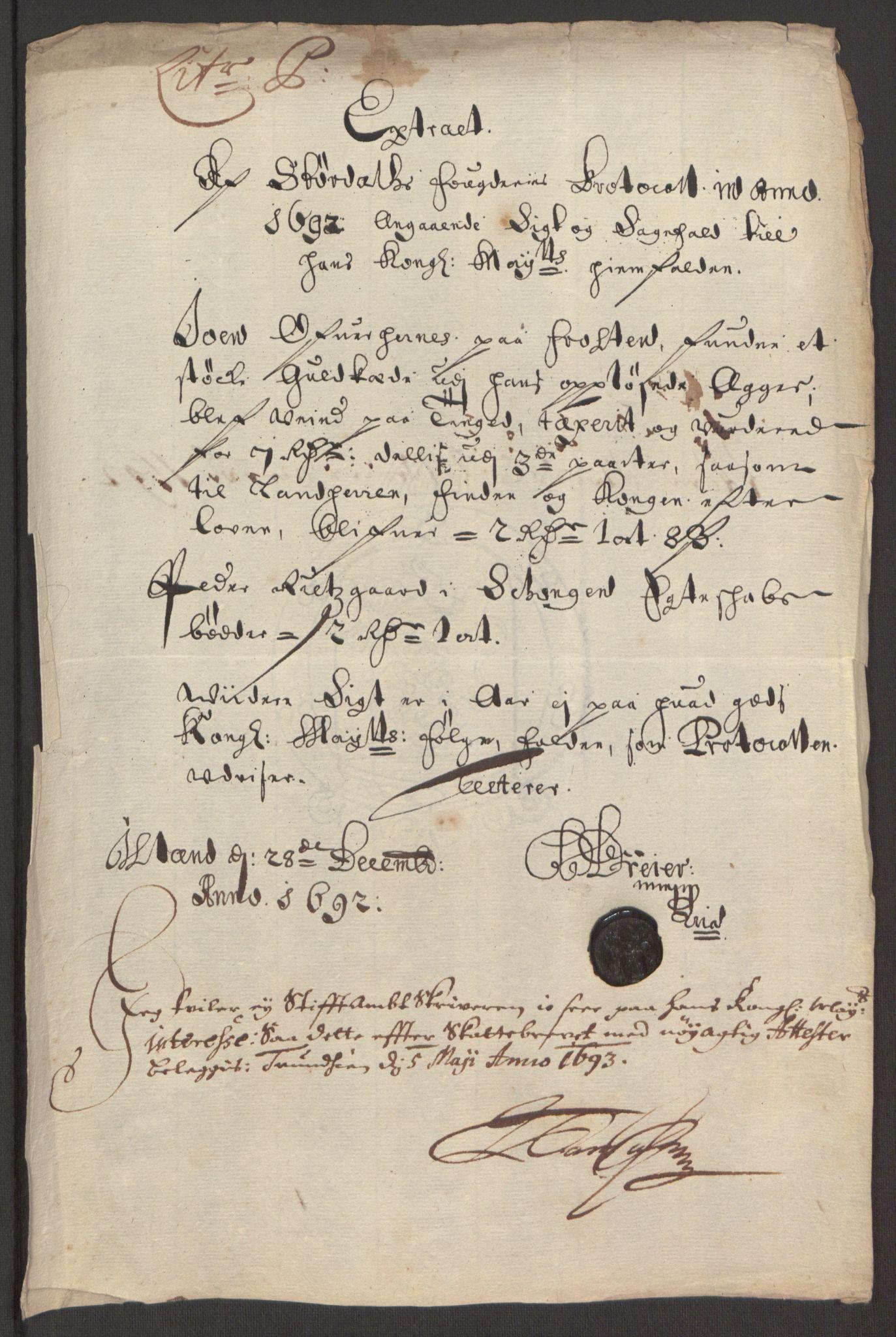 RA, Rentekammeret inntil 1814, Reviderte regnskaper, Fogderegnskap, R62/L4185: Fogderegnskap Stjørdal og Verdal, 1692, s. 214
