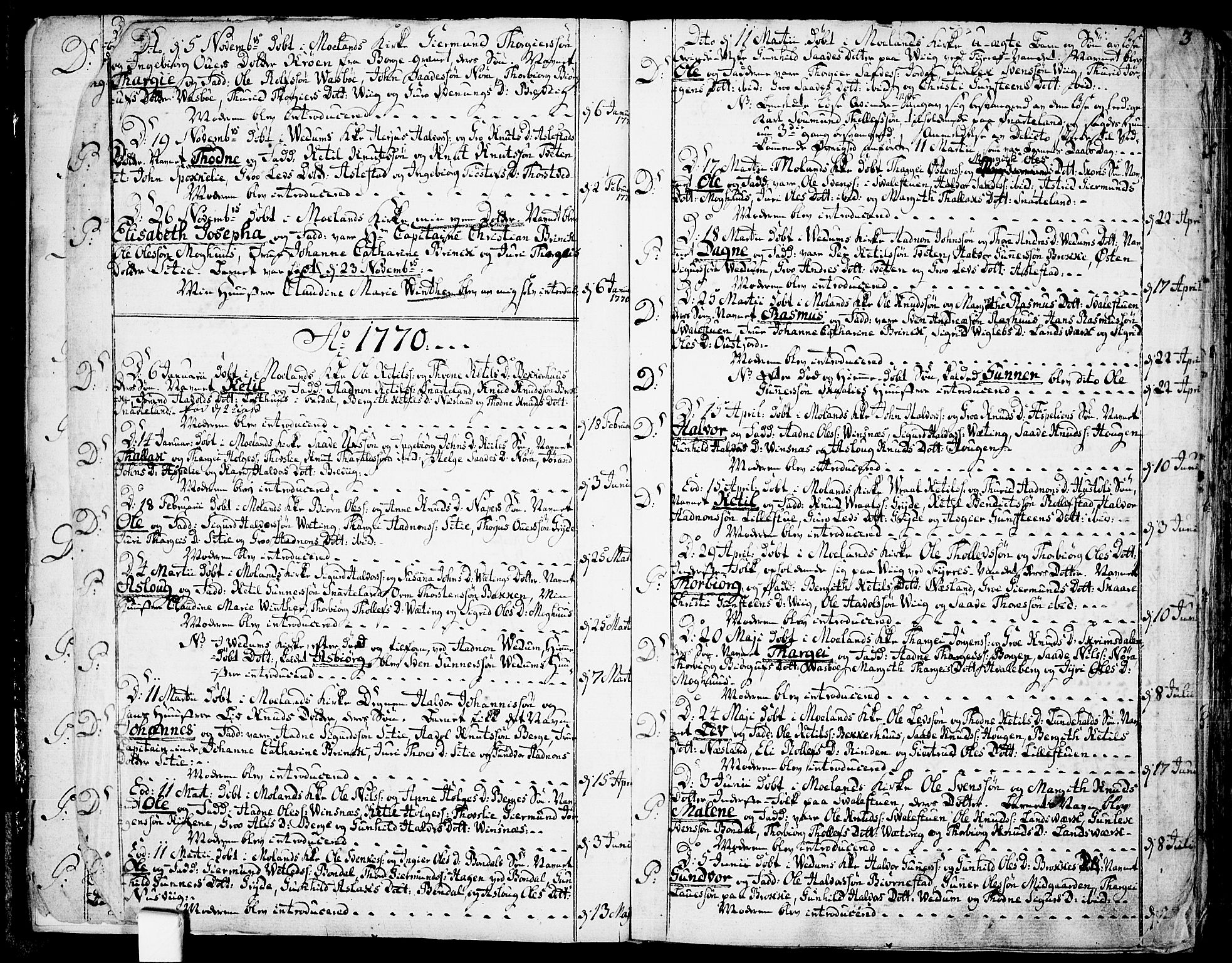 SAKO, Fyresdal kirkebøker, F/Fa/L0002: Ministerialbok nr. I 2, 1769-1814, s. 3